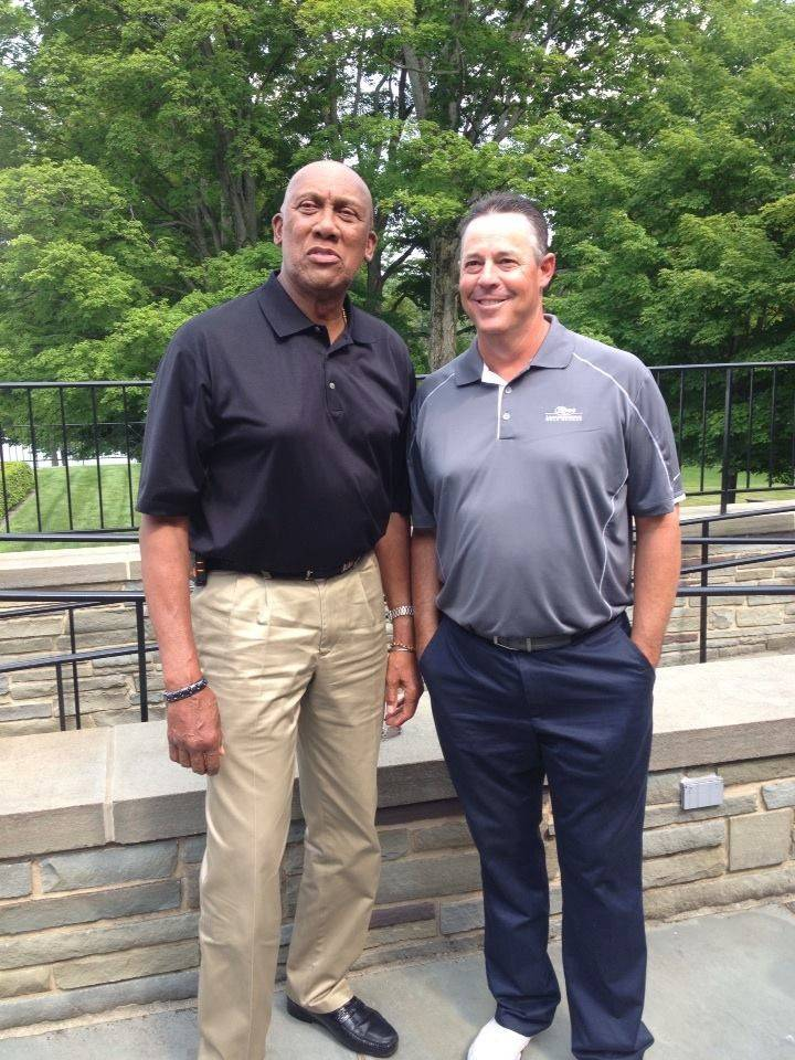 New Hall of Famer Greg Maddux, right, hangs out Friday in Cooperstown with Cubs pitching great Fergie Jenkins, who was inducted into the Hall in 1991.