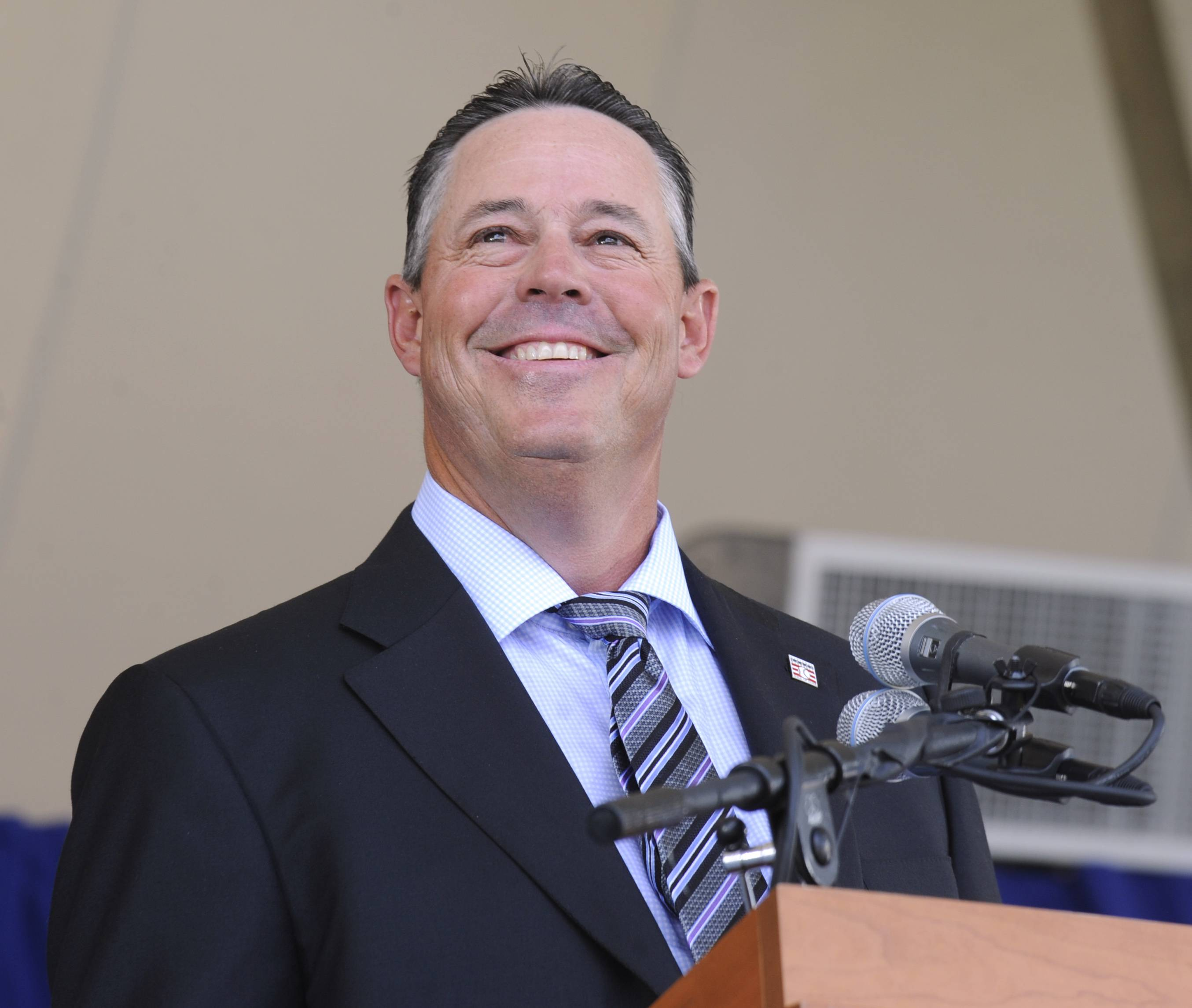 National Baseball Hall of Fame inductee Greg Maddux speaks during Sunday's induction ceremony at the Clark Sports Center in Cooperstown, N.Y.