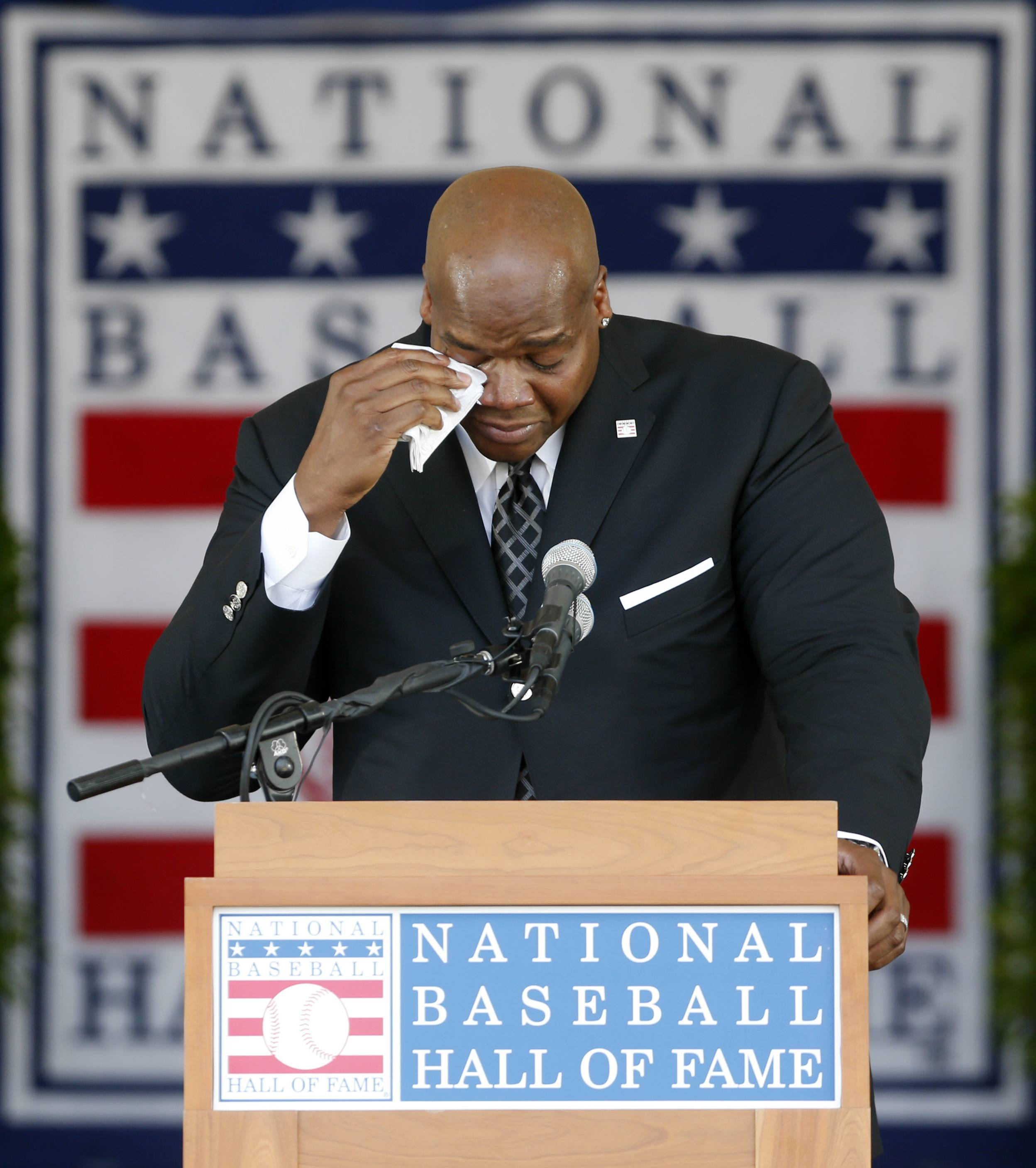 National Baseball Hall of Fame inductee Frank Thomas gets emotional as he speaks during an induction ceremony at the Clark Sports Center on Sunday, July 27, 2014, in Cooperstown, N.Y.