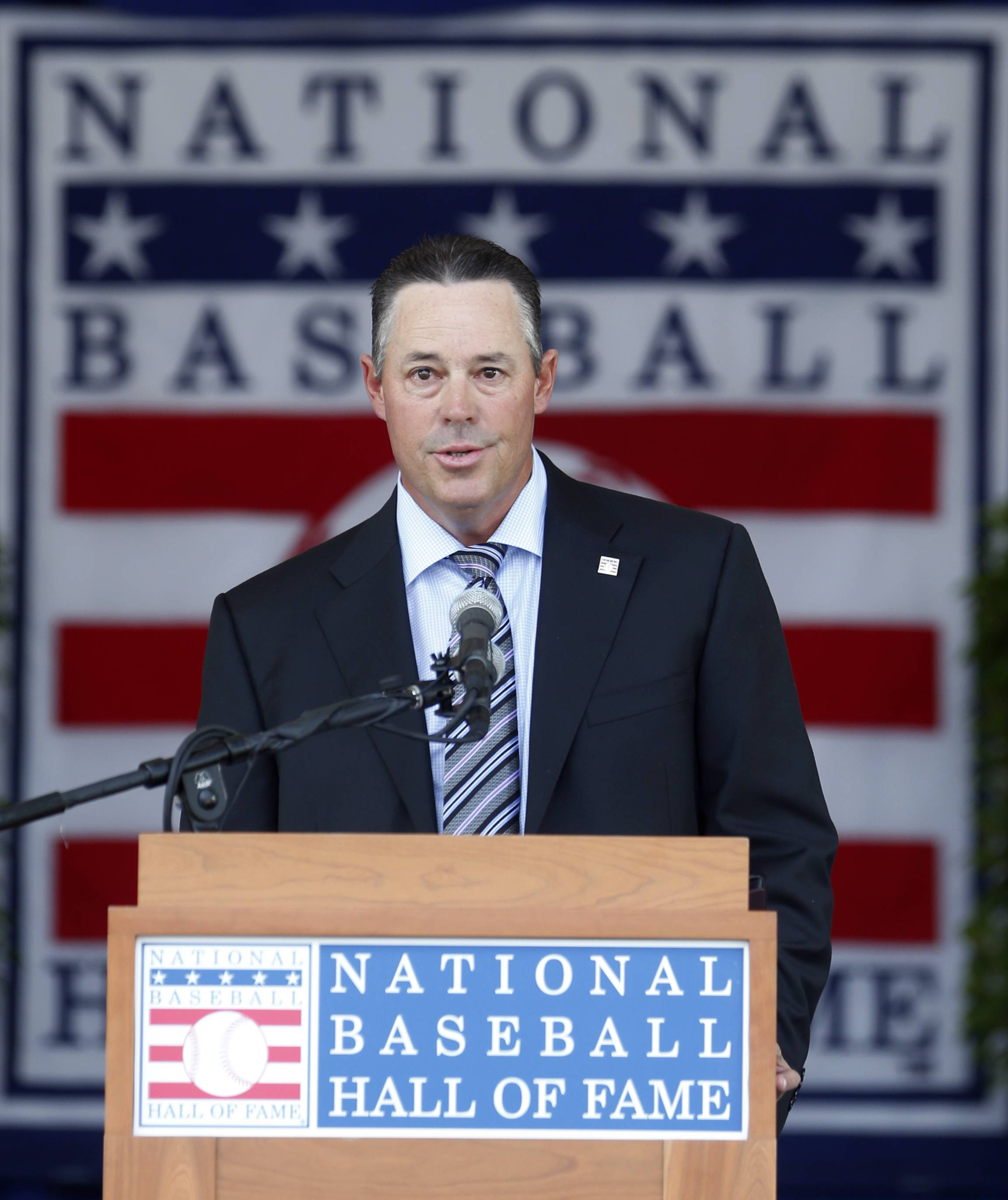 National Baseball Hall of Fame inductee Greg Maddux speaks during an induction ceremony at the Clark Sports Center on Sunday, July 27, 2014, in Cooperstown, N.Y.