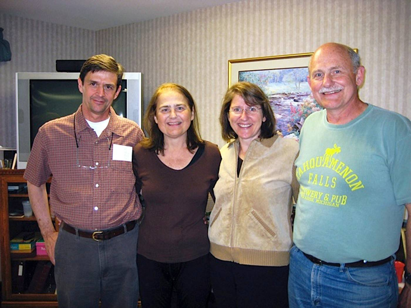 Irene Schneider in 2010 with her three donors. Brother-in-law Duane Wepking (donor 2009) is at left; next is Schneider and her siblings, Kate Braus (donor 1994) and Joe Schneider (donor 1984).