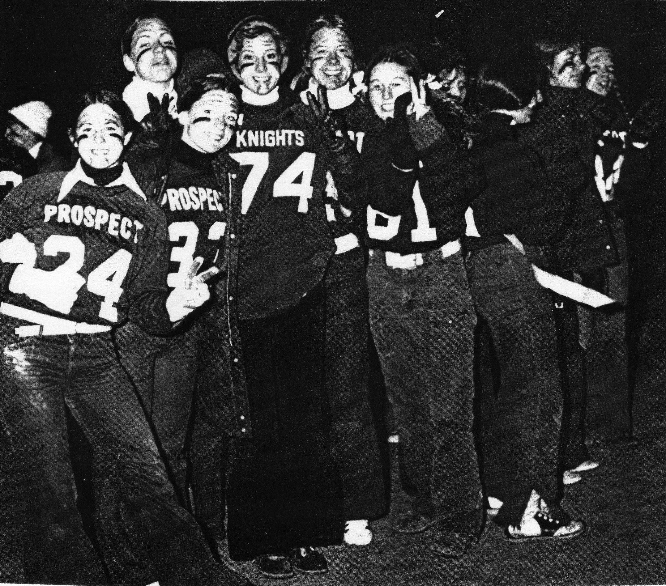 The Prospect High senior girls took on the junior girls in the powder puff football game. That may have been the only football game the senior class won that year.