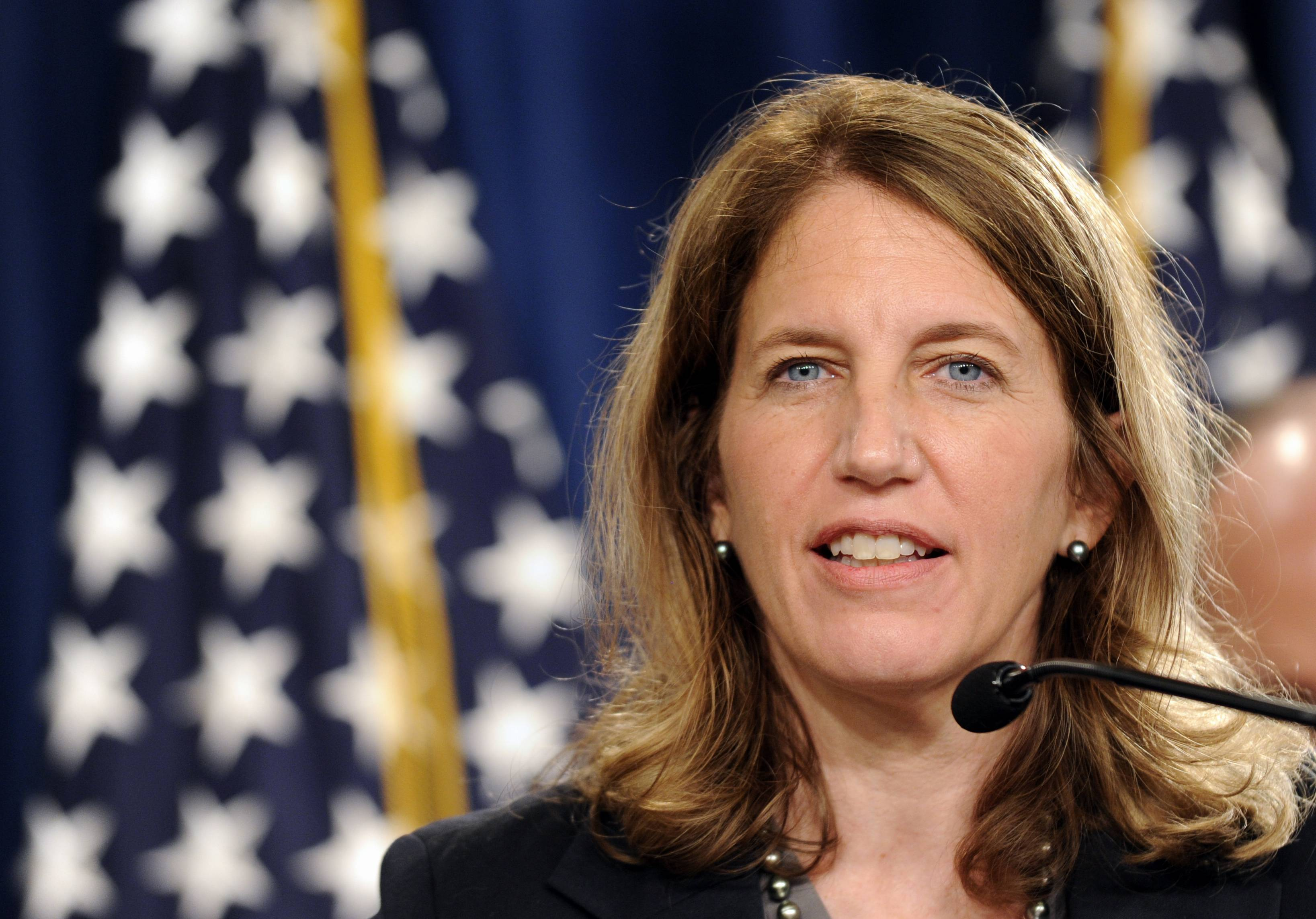 Health and Human Services Secretary Sylvia Burwell discusses the improved health of the Social Security and Medicare funds at a news conference in Washington Monday.