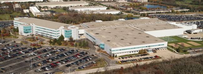 An aerial view of Motorola Mobility's Libertyville complex, which has been sold.