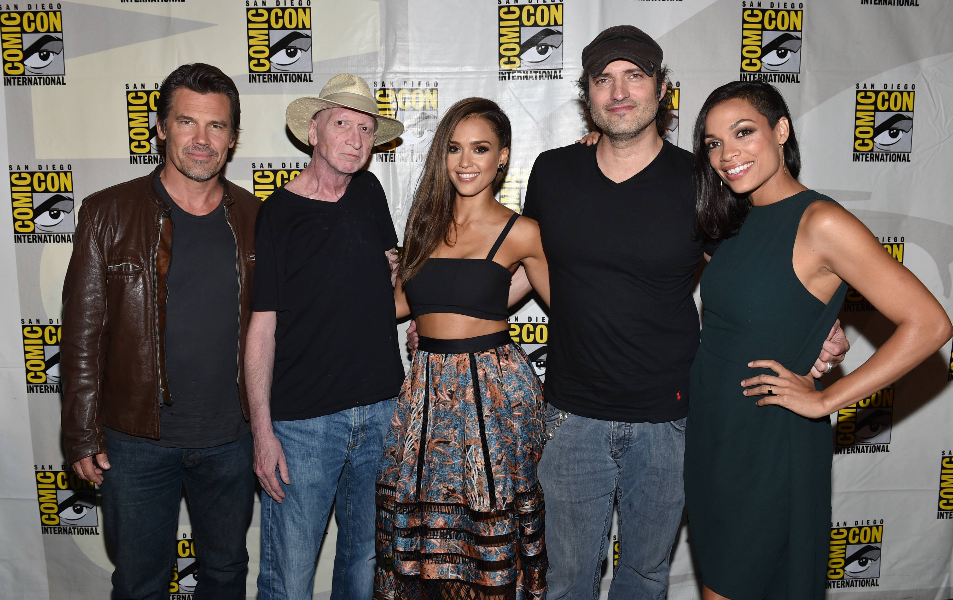 "Josh Brolin, left, writer/director Frank Miller, Jessica Alba, director Robert Rodriguez and Rosario Dawson attend the ""Sin City: A Dame to Kill For"" signing on Day 3 of Comic-Con International Saturday in San Diego."
