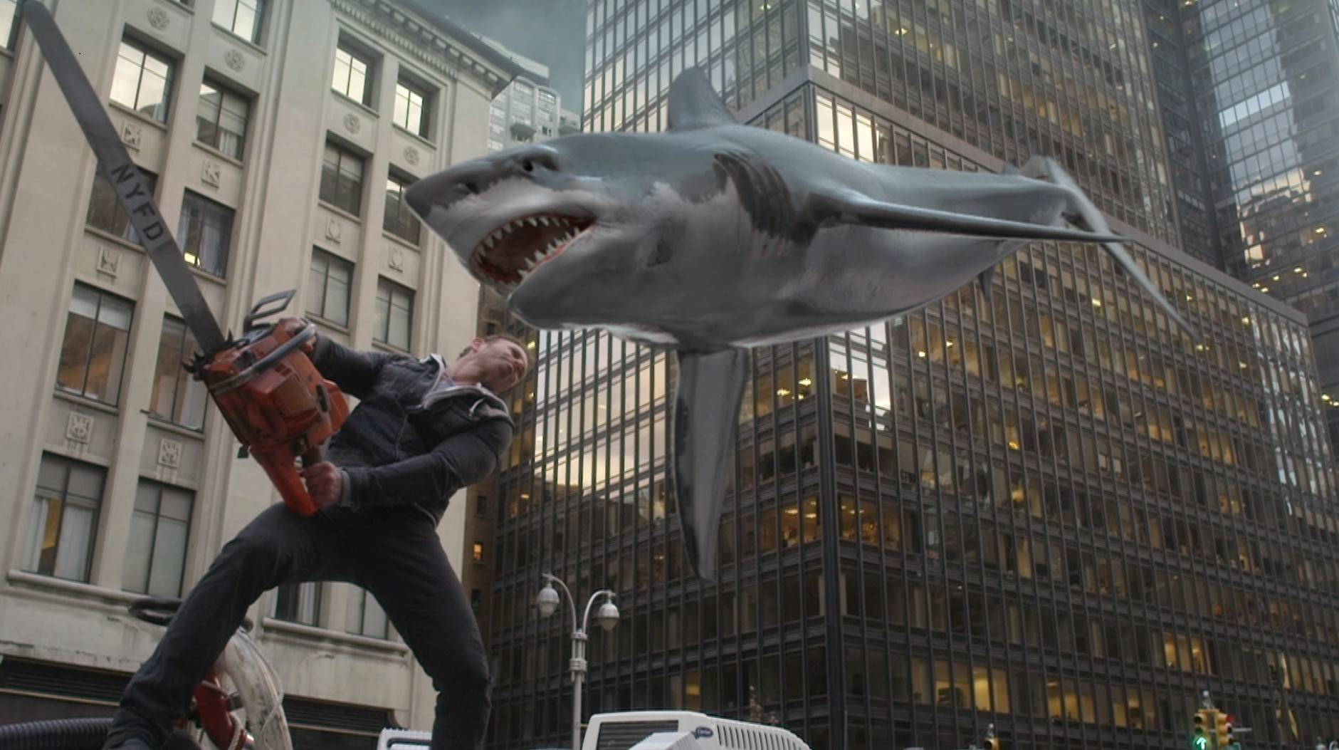 "Fin Shepard (Ian Ziering) once again fights to survive a freak shark storm in Syfy's ""Sharknado 2: The Second One."""