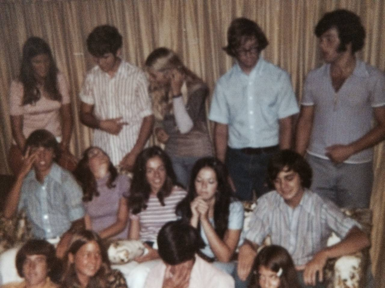 The photo 2 was just a large group of very close friends getting together at someone's house. This group was a close knit group, almost all of them associated with a sport or Rhythmettes (pompon girls), and just had fun without drugs or alcohol.