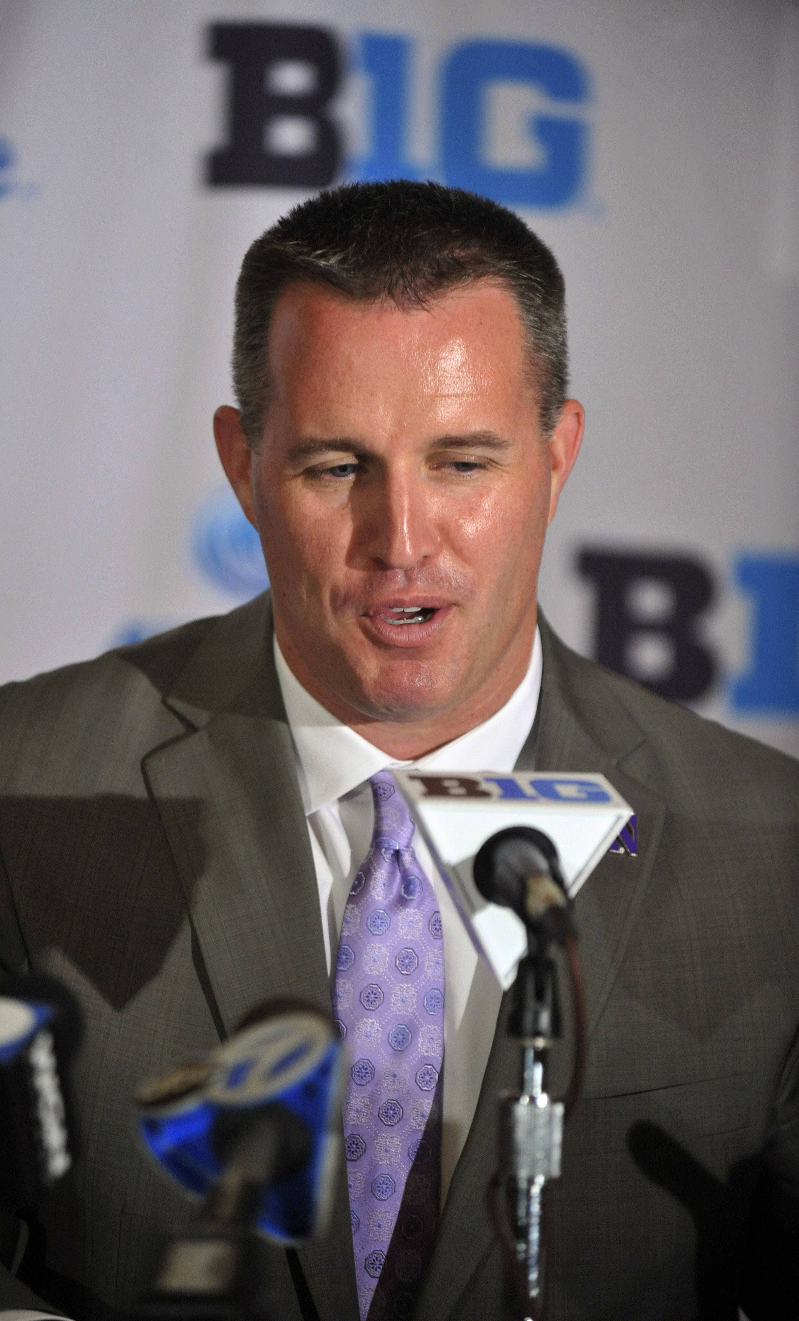 Northwestern coach Pat Fitzgerald and the Wildcats are looking to bounce back from last season's 5-7 finish.