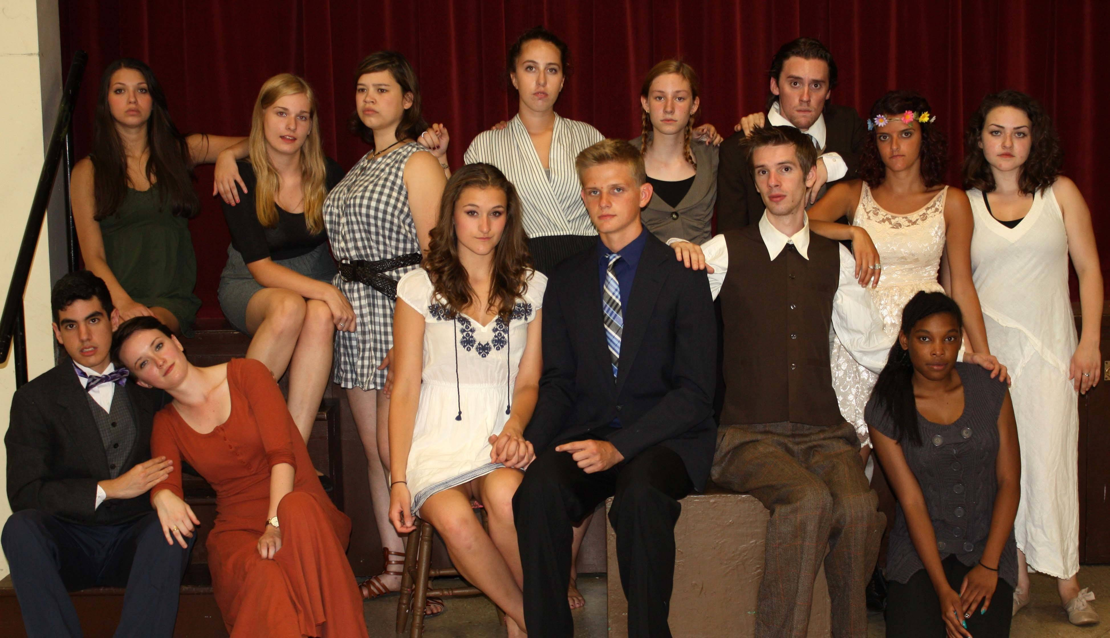 "The cast of ""Spring Awakening"": Front row: Justin Santostefano of Elgin, Erin Noll of Lake Zurich, Kelsey Krigas of Fox River Grove, Mitch Kedzior of Cary, Benjamin Golay of Chicago and Gail Goodman of Palatine; second row: Kayla DeFranza of Arlington Heights, Elizabeth Sample of Elgin, Mia Melone of Barrington, Breton Spiller of Mount Prospect, Sammi Goodmanson of Arlington Heights, Vinny Prisco of St. Charles, Madalyn Griseto of Des Plaines and Gabbi Jones of Arlington Heights."