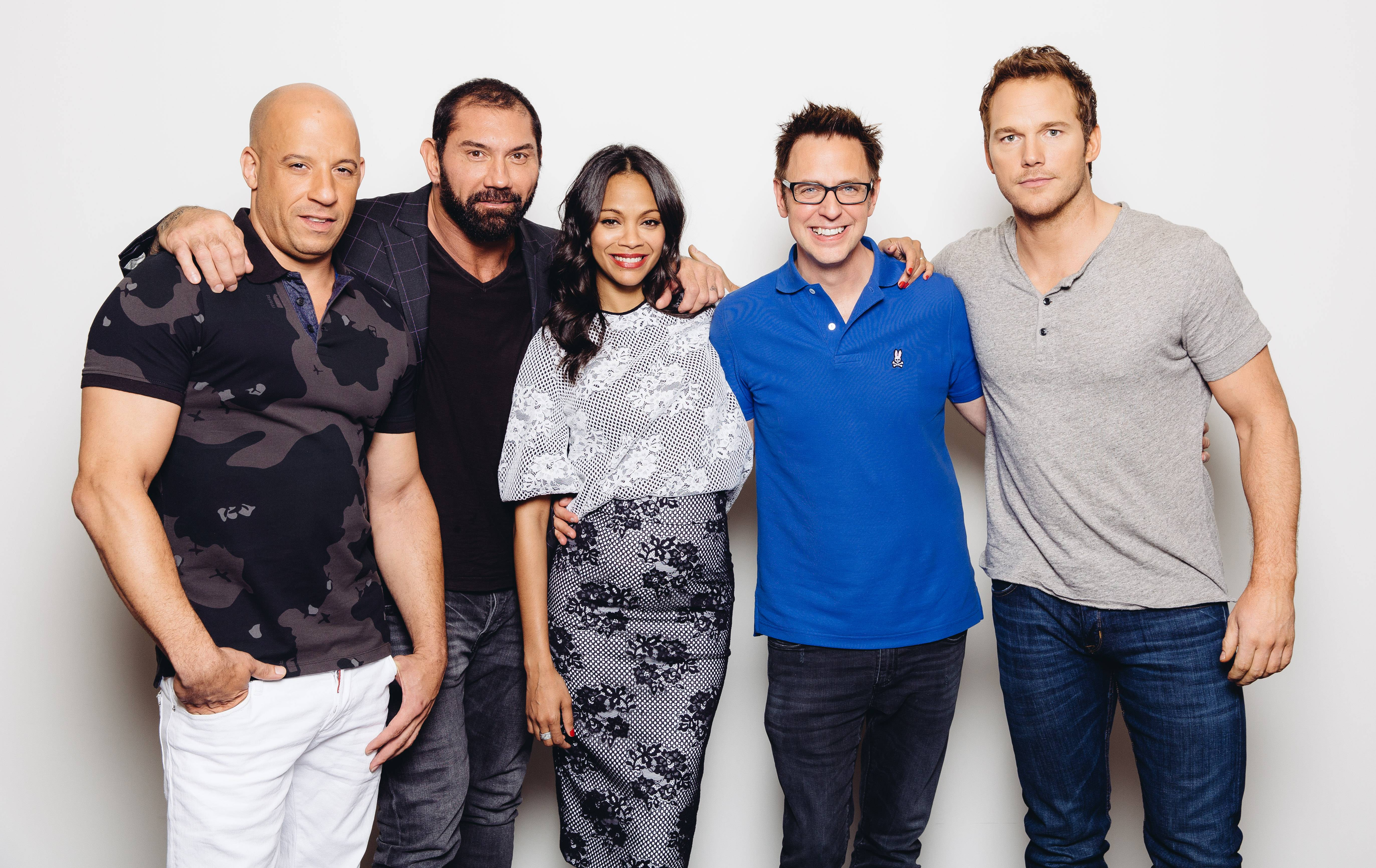 "Vin Diesel, left, Dave Bautista, Zoe Saldana, director James Gunn, and Chris Pratt are ready for ""Guardians of the Galaxy"" to hit the big screens Friday."