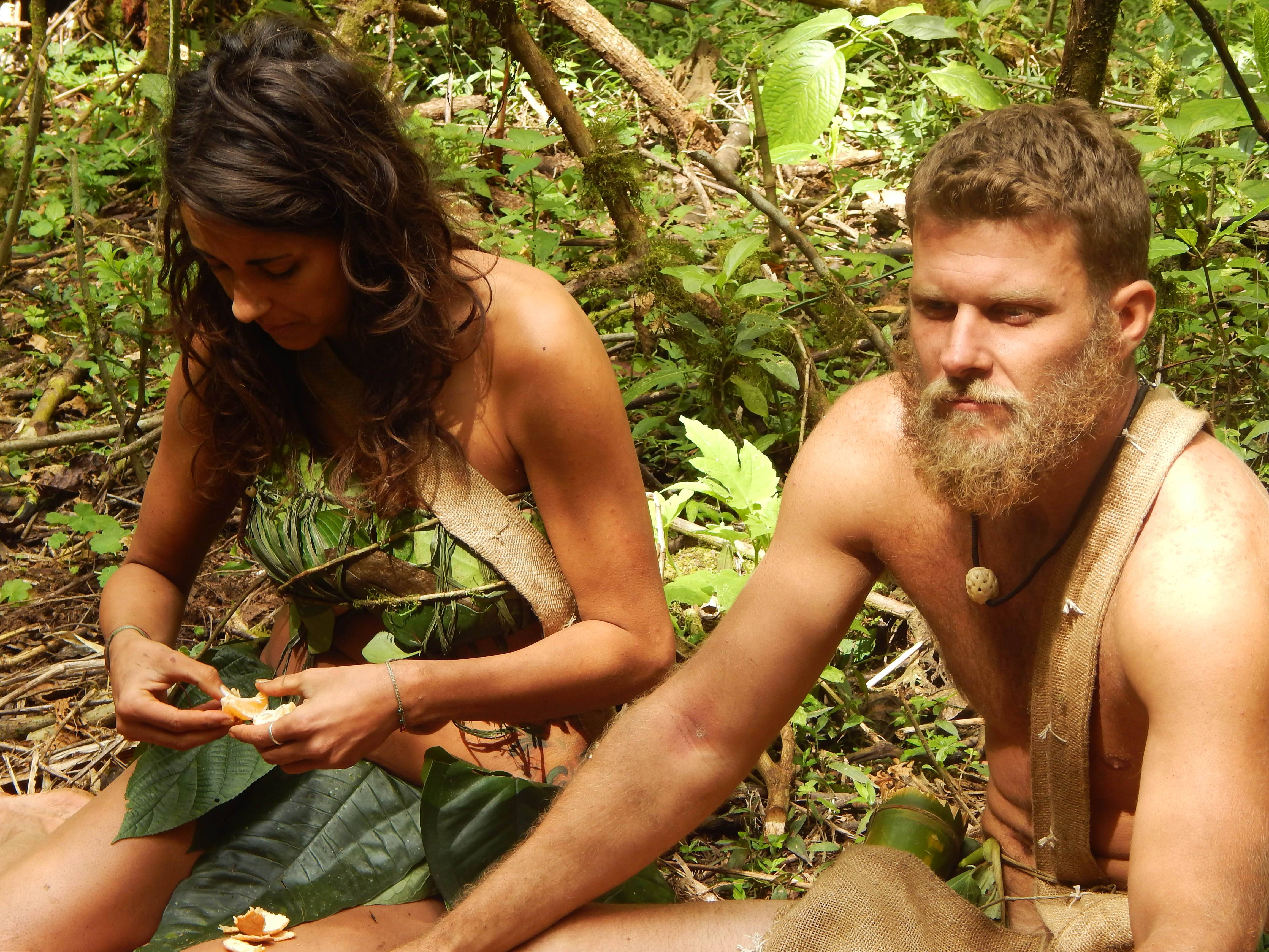 "Jaclyn and Adam eat mandarins in the Discovery Channel series ""Naked and Afraid."" Nudity is reality TV's latest hot trend."