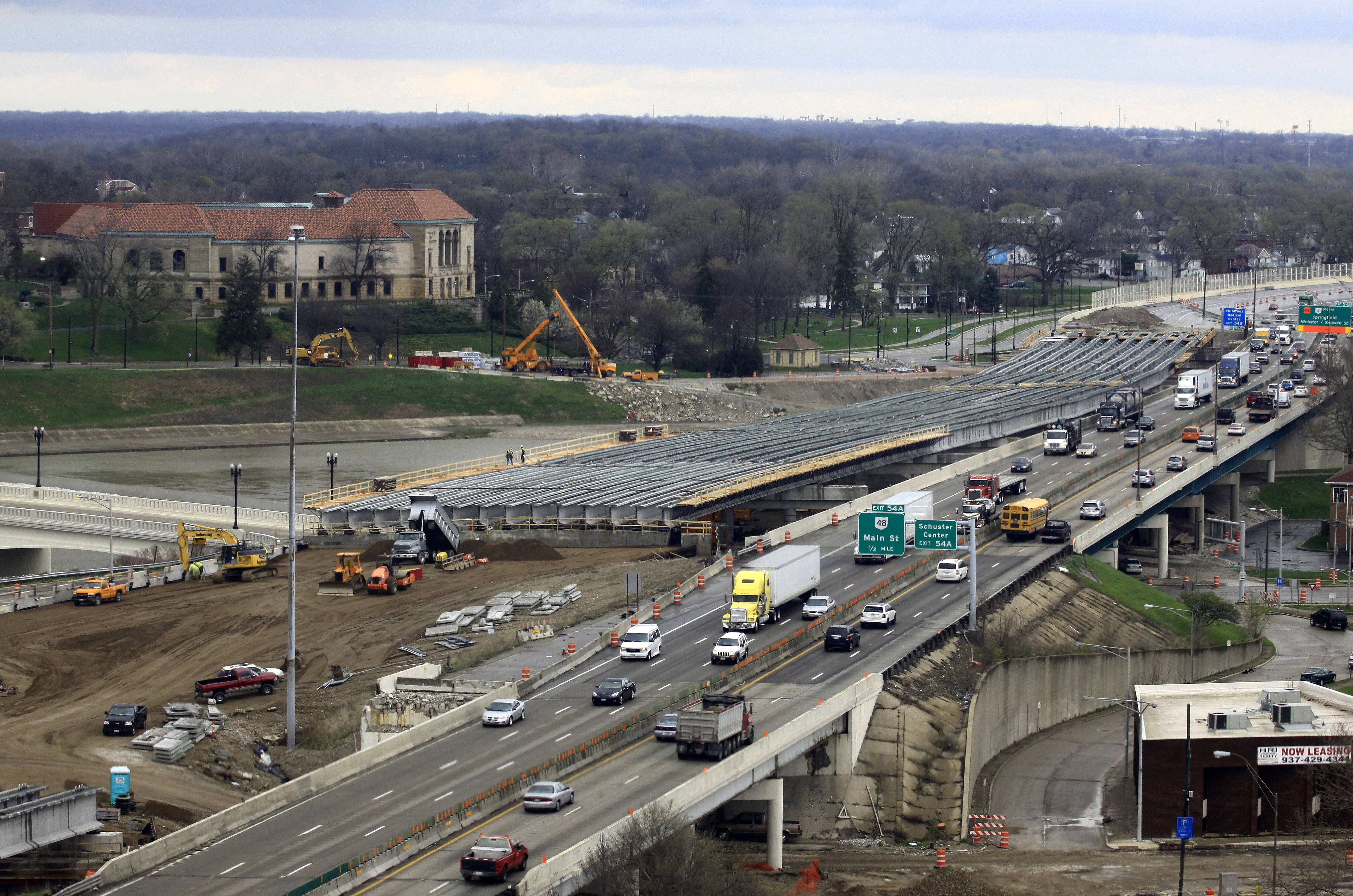 This is a section of the I-75 Phase II modernization project under way in Dayton, Ohio. The Senate passed legislation on Tuesday to keep federal highway money flowing to states, with just three days left before the government plans to start slowing down payments. The House passed a $10.8 billion bill last week.