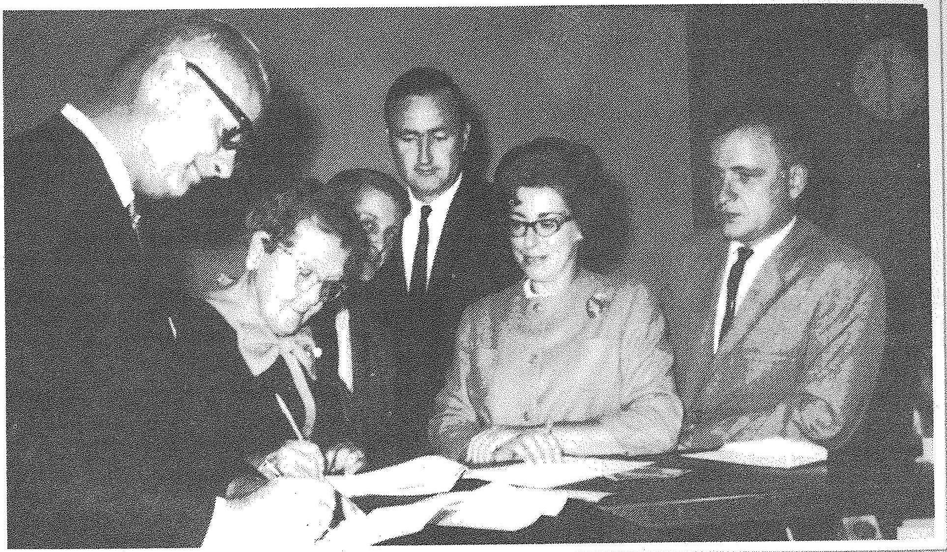The spring 1969 signing of the Hoffman Estates Park District's purchase of the Vogelei property. At the last minute, owner Ida Vogelei decided she didn't want to sell the driveway, but ultimately gave in.
