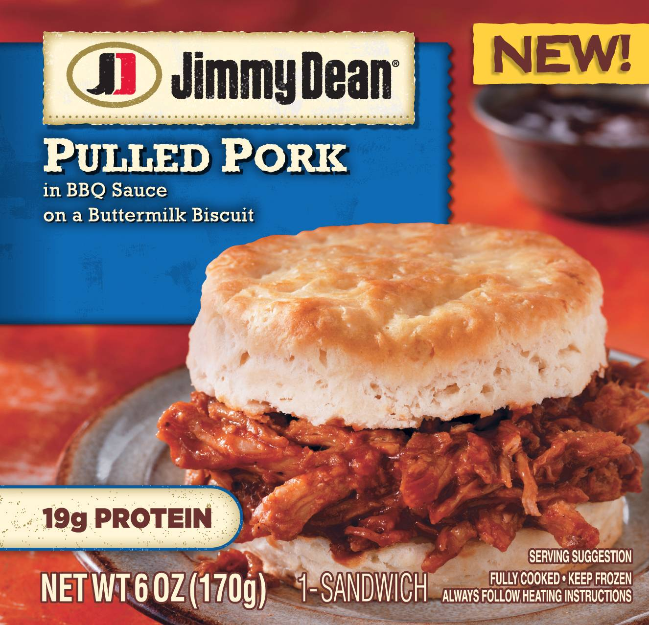 A Jimmy Dean Pulled Pork sandwich. Jimmy Dean, the breakfast sausage brand started by the late country singer of the same name, is hoping its new bowls and sandwiches can lure eaters at other meals.