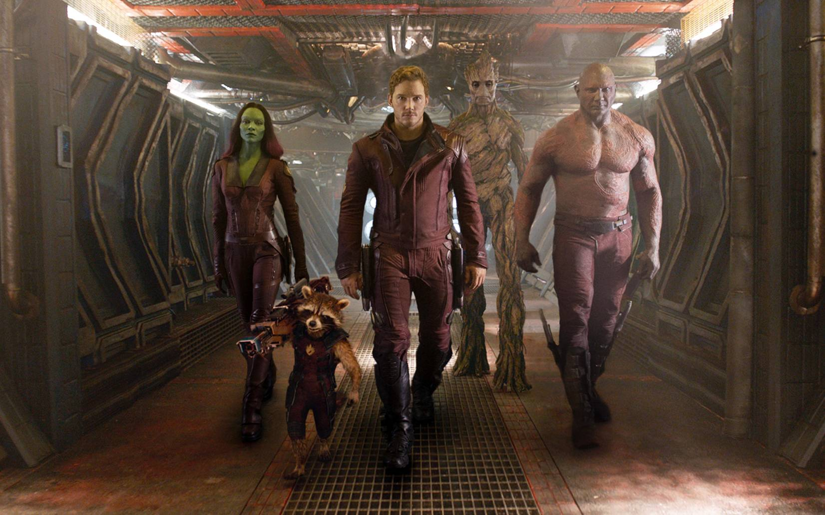 "A team of intergalactic do-gooders -- Zoe Saldana, left, Rocket Racoon (voiced by Bladley Cooper), Chris Pratt, Groot (voiced by Vin Diesel) and Dave Bautista -- share quite the space adventure in Marvel's ""Guardians of the Galaxy."""