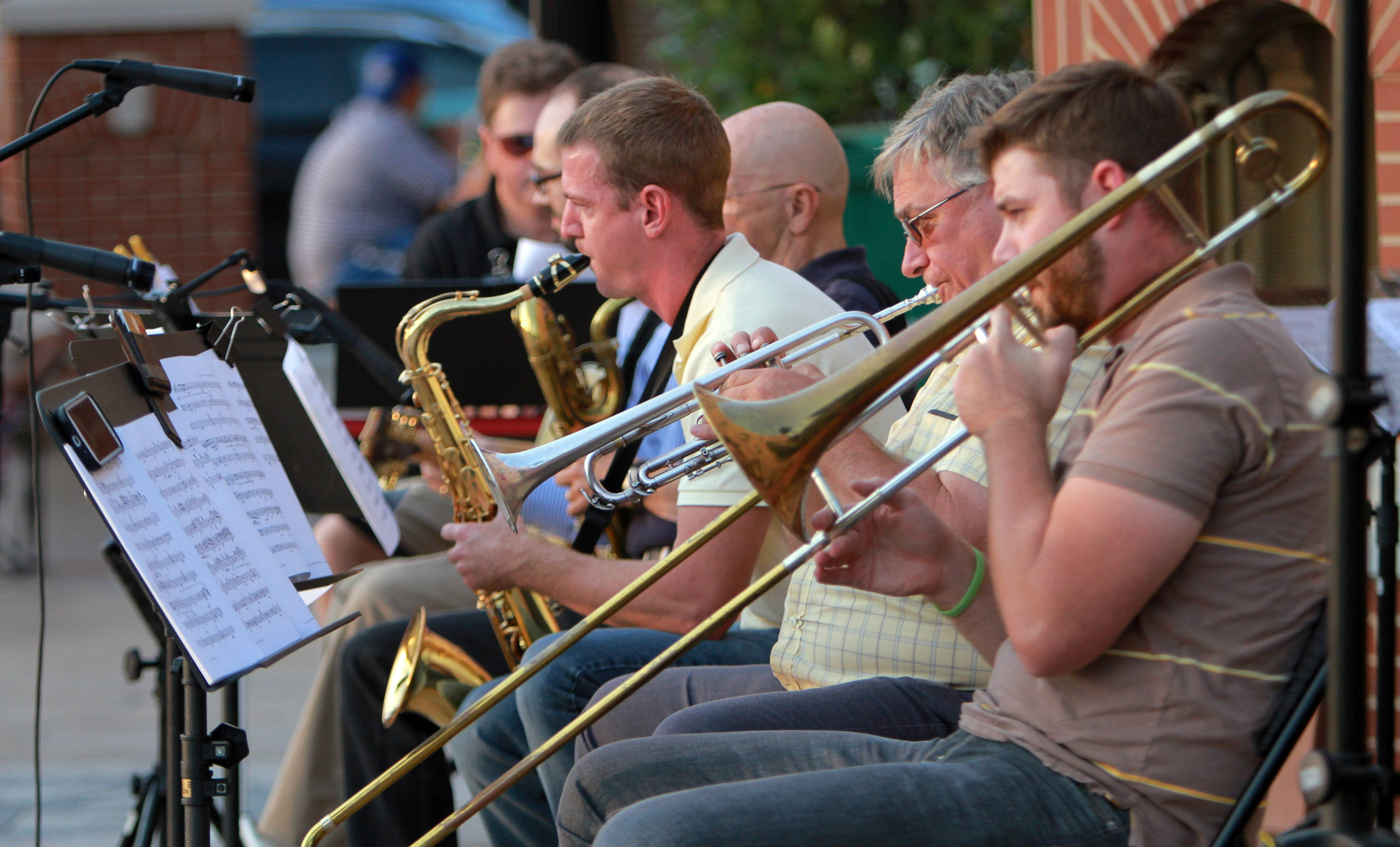The Mike Flack Octet play some cool jazz music Tuesday night at Centennial Park in Grayslake.