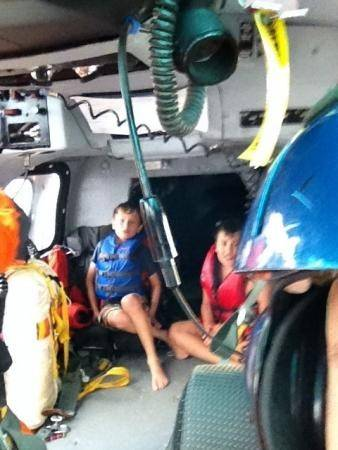 Tommy Alter and his cousin Zachary Suri, moments after being rescued by the Coast Guard earlier this month.