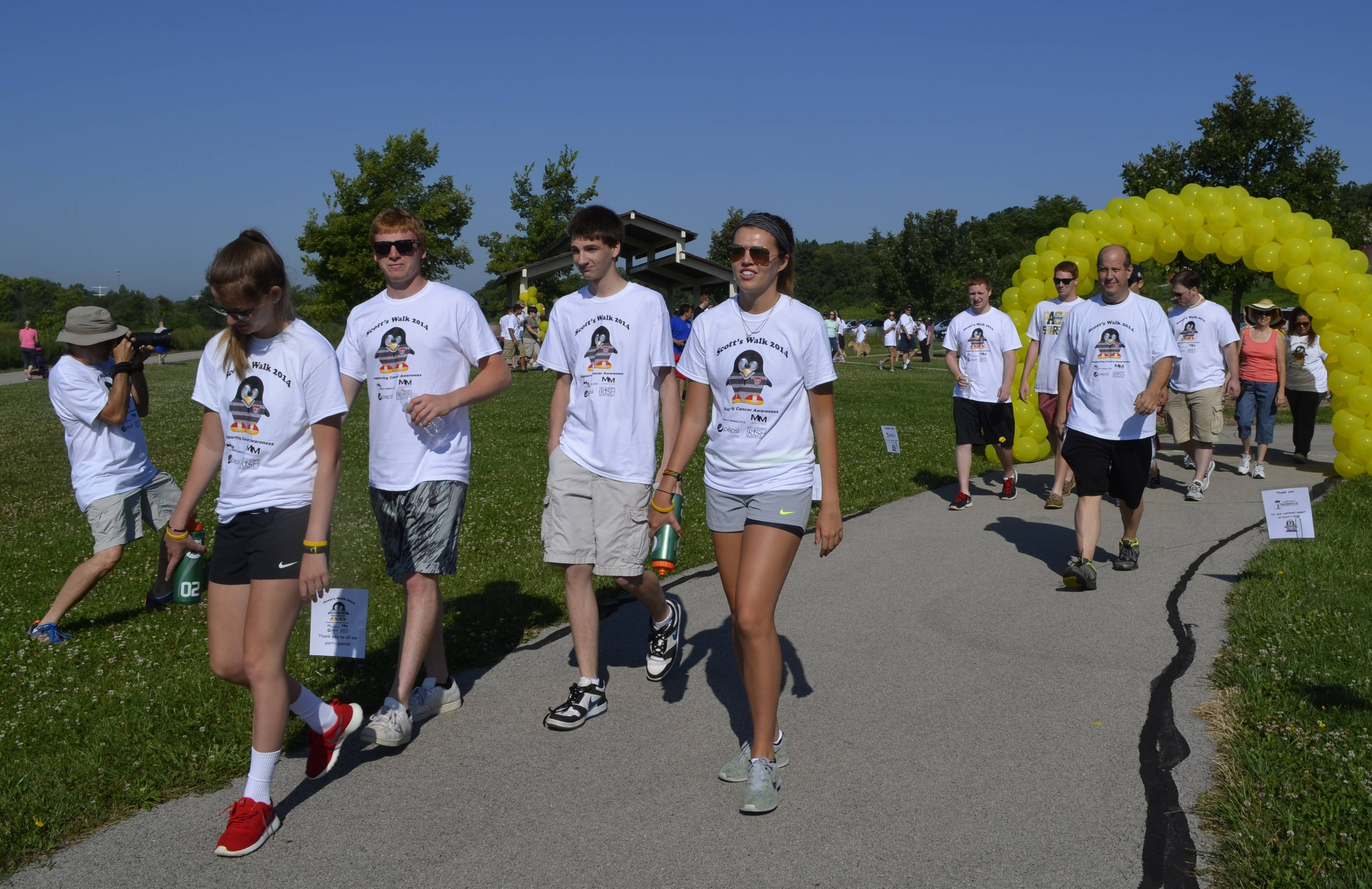 Roughly 175 people participated in Sunday's Scott's Walk in south Naperville to raise awareness about testicular cancer.