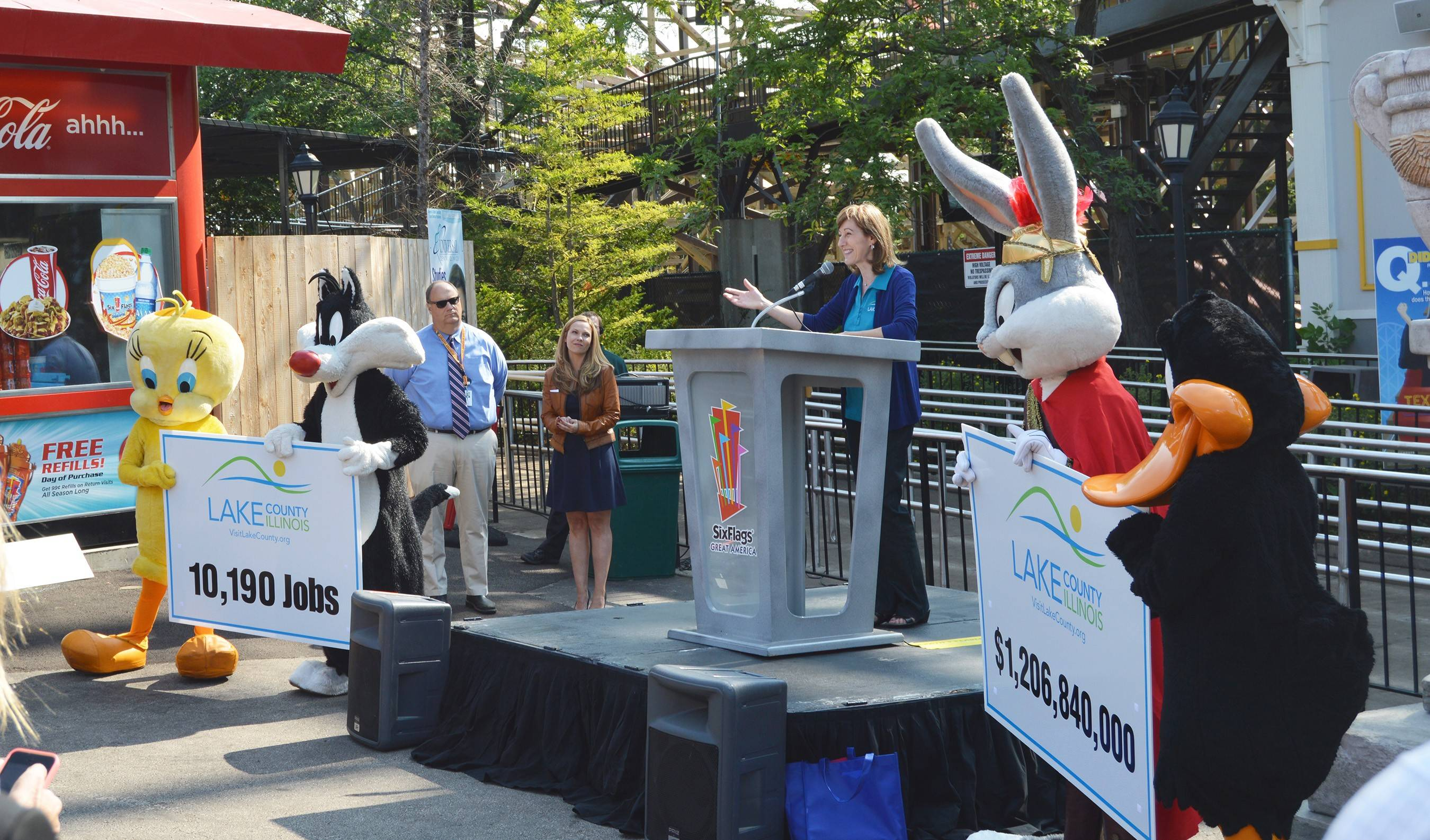 Maureen Riedy, president of Visit Lake County, discusses tourism numbers during an event Monday at Six Flags Great America in Gurnee.