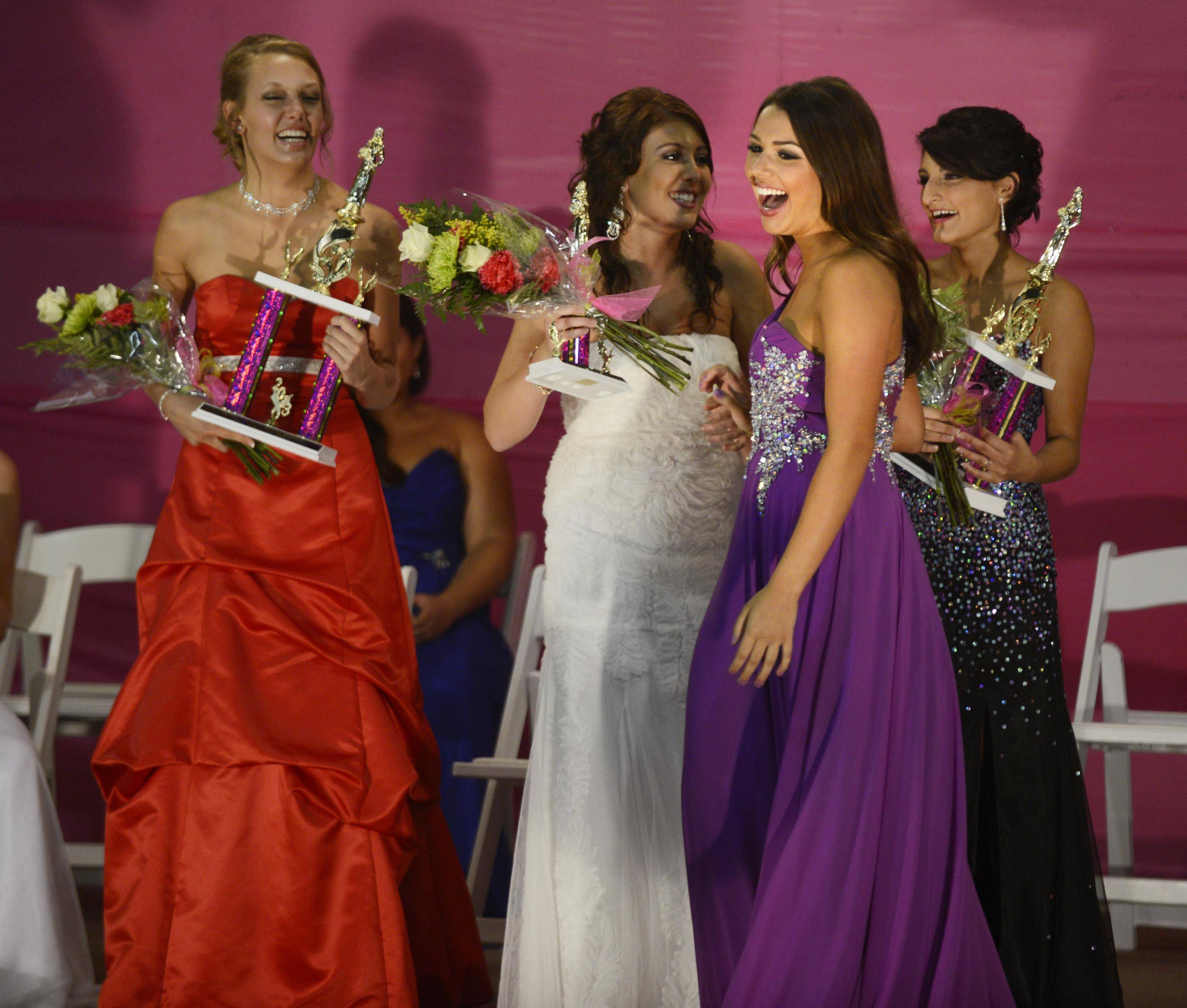 Savannah Kleiner, 18, of Lake in the Hills, won last year's McHenry County Queen Pageant. Behind her, from left, are first runner-up Jessica Thuma, 21, of Woodstock, third runner-up Brooke Romero, 16, of Lake in the Hills, and second runner-up Arlinda Fasliu, 18, of Woodstock. This year's pageant is Wednesday night.