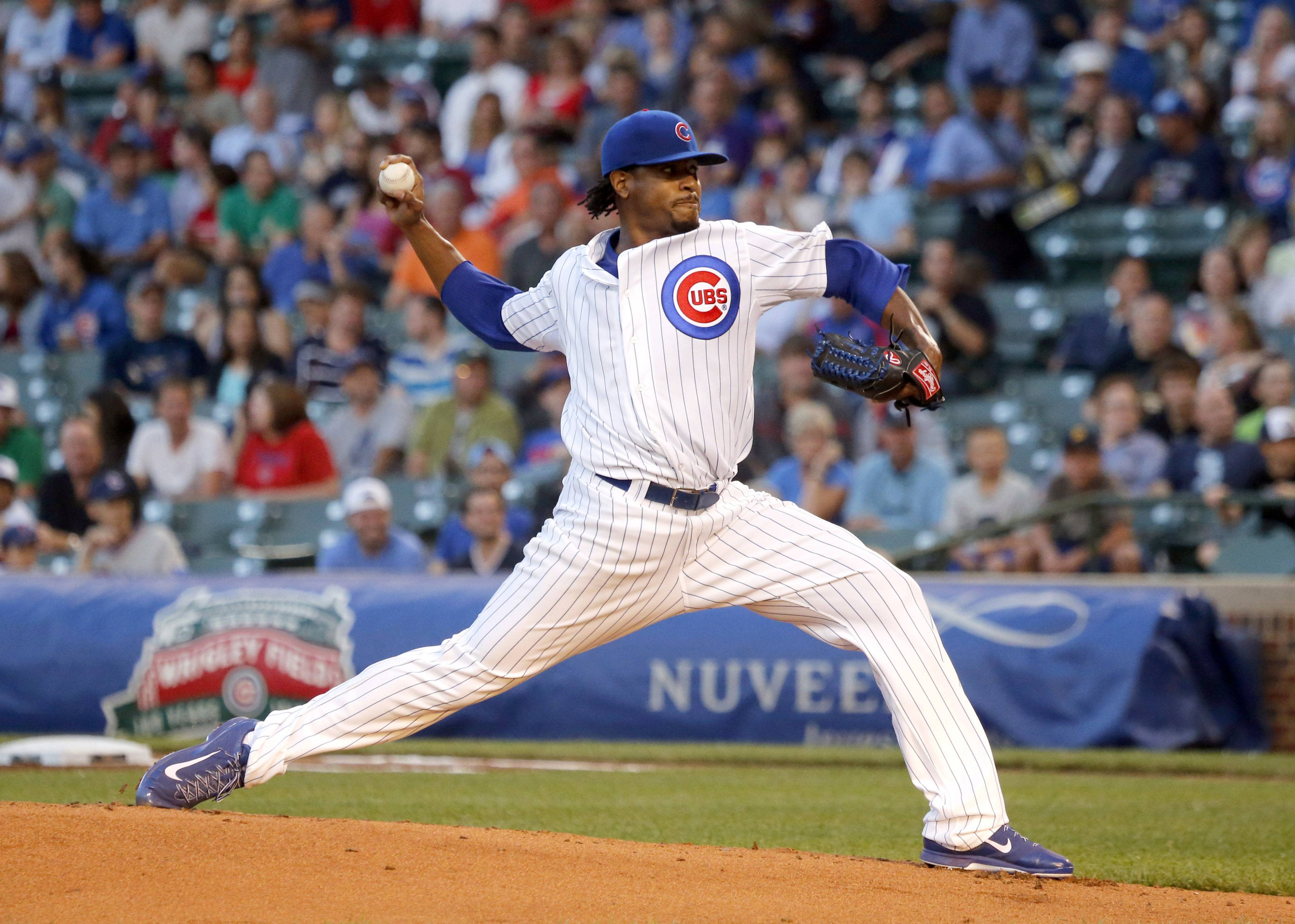 Cubs starting pitcher Edwin Jackson made it through just 4 innings Tuesday night against the Rockies.