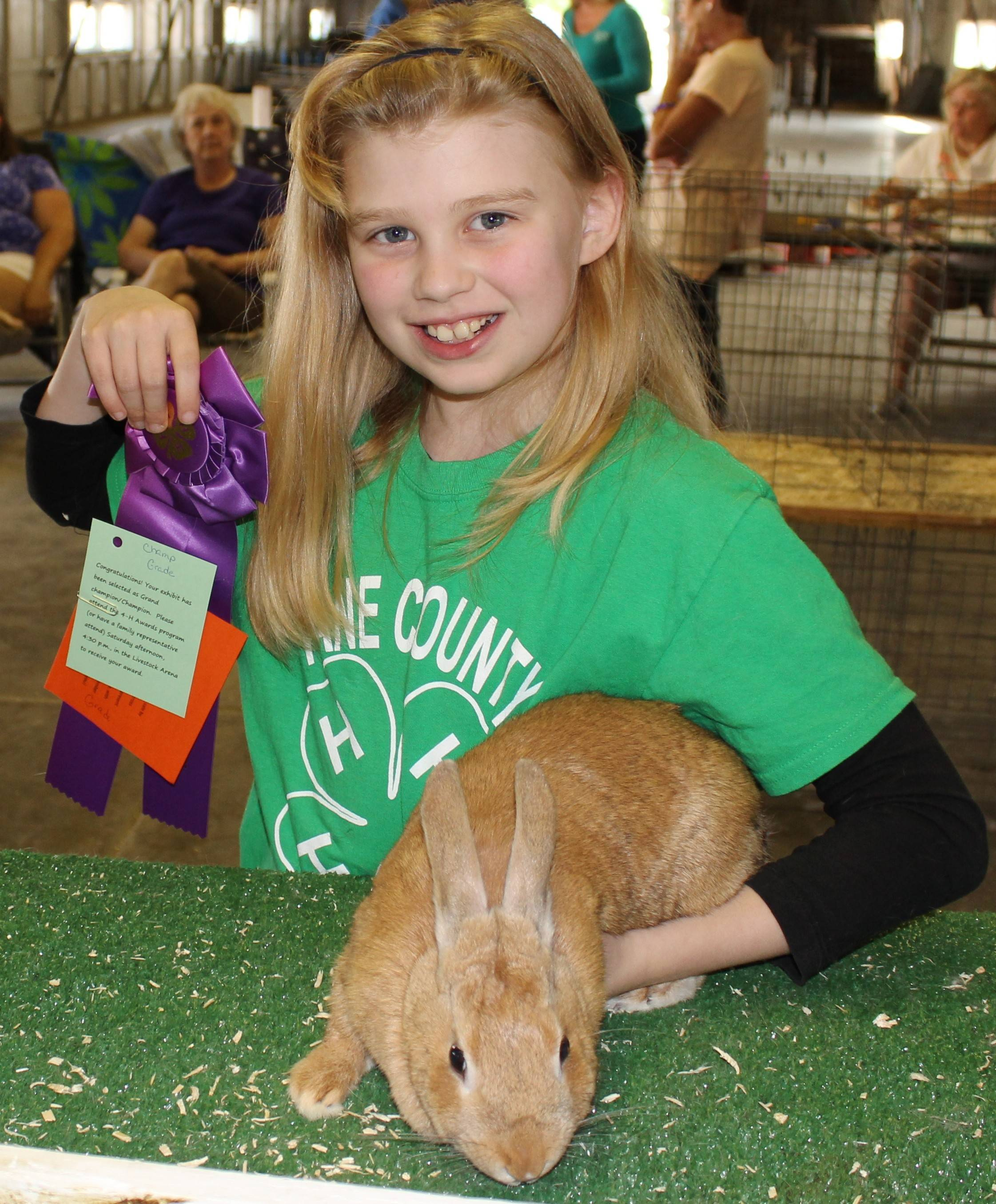 Caitlyn Bjorkman of Kaneville Classics 4-H Club happily receives her Grand Champion Grade Rosette in the 4-H Rabbit Show at the Kane County Fair.