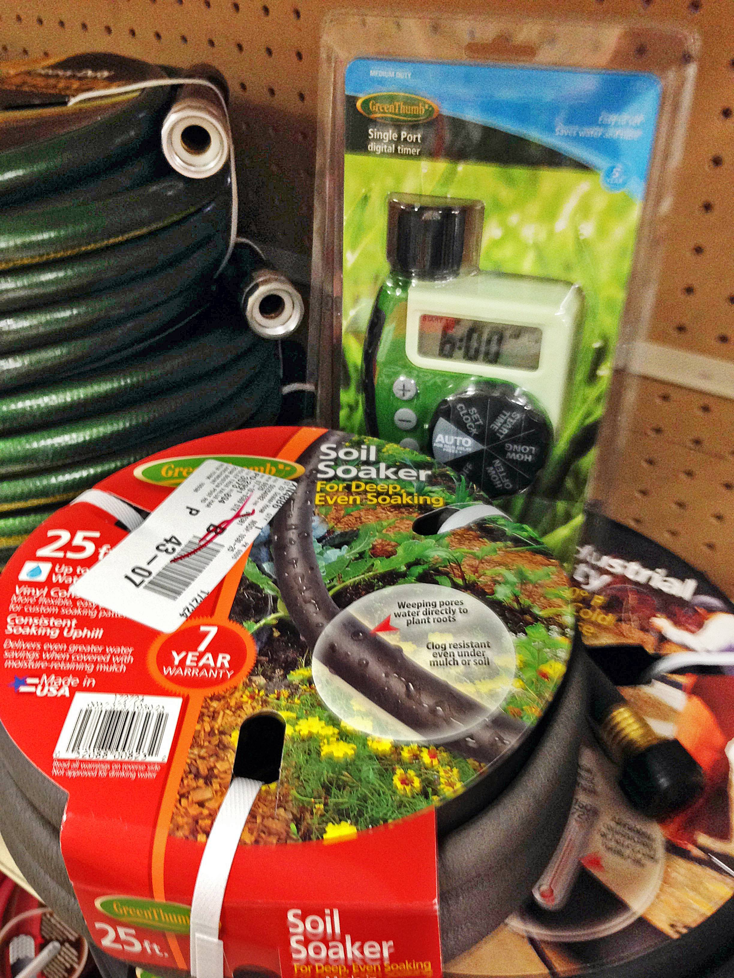 Timers and soaker hoses can be used to keep your garden healthy while you're on your vacation.