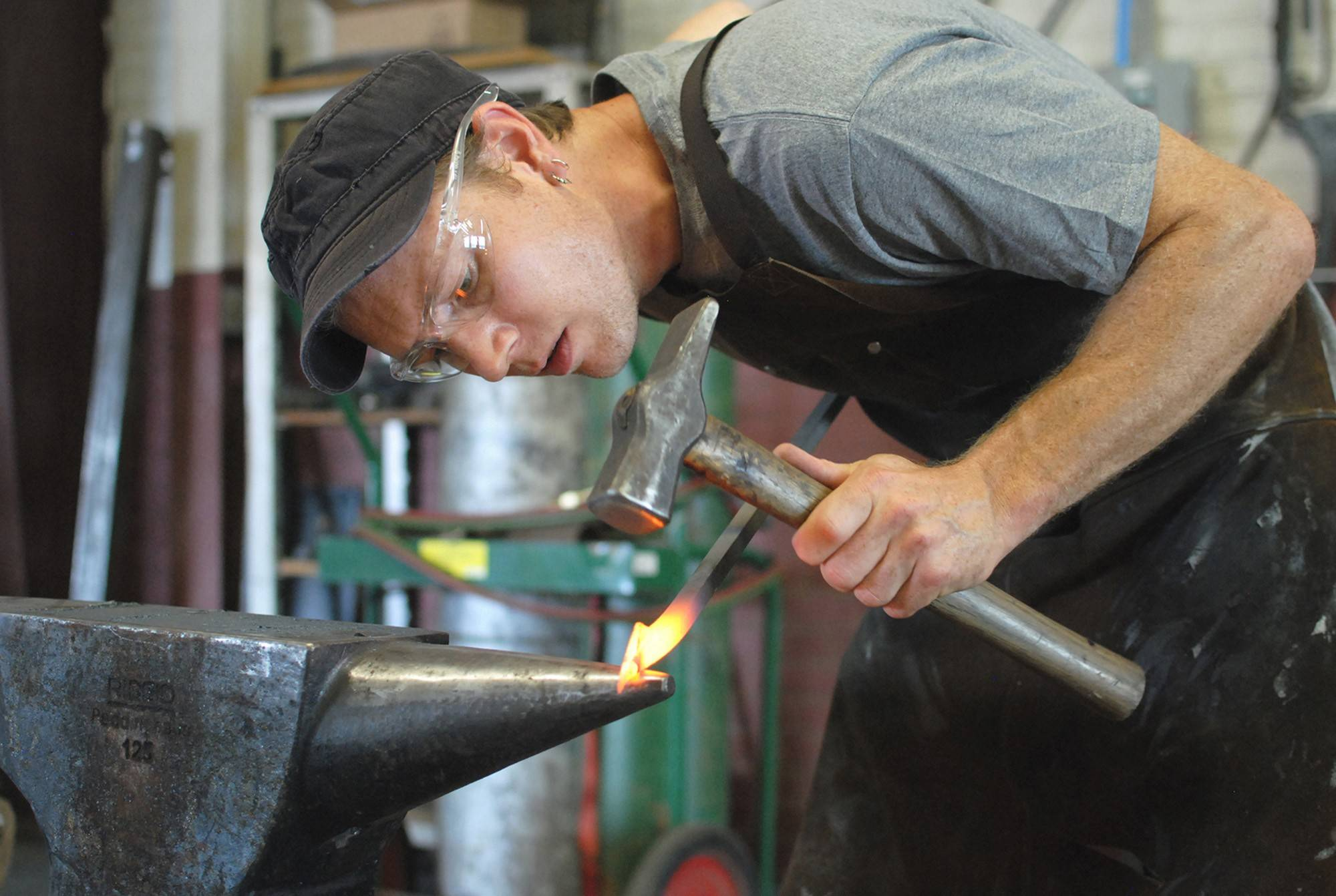 Kyle Lucia at his forge.