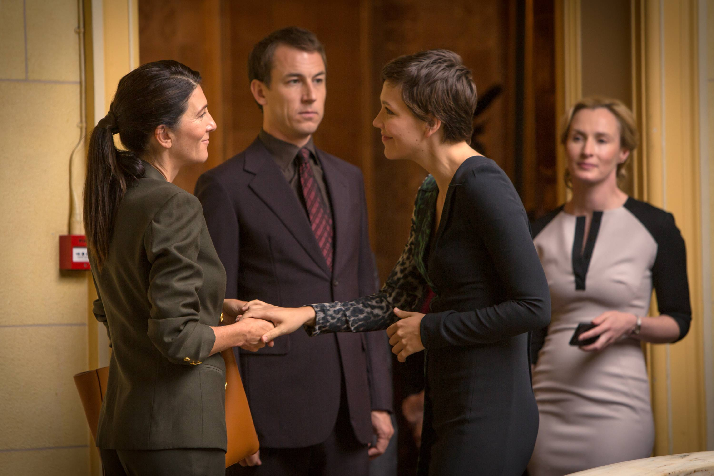 "Eve Best, left, Tobias Menzies, Maggie Gyllenhaal and Genevieve O'Reilly in SundanceTV's ""The Honorable Woman,"" an eight-hour miniseries premiering Thursday."