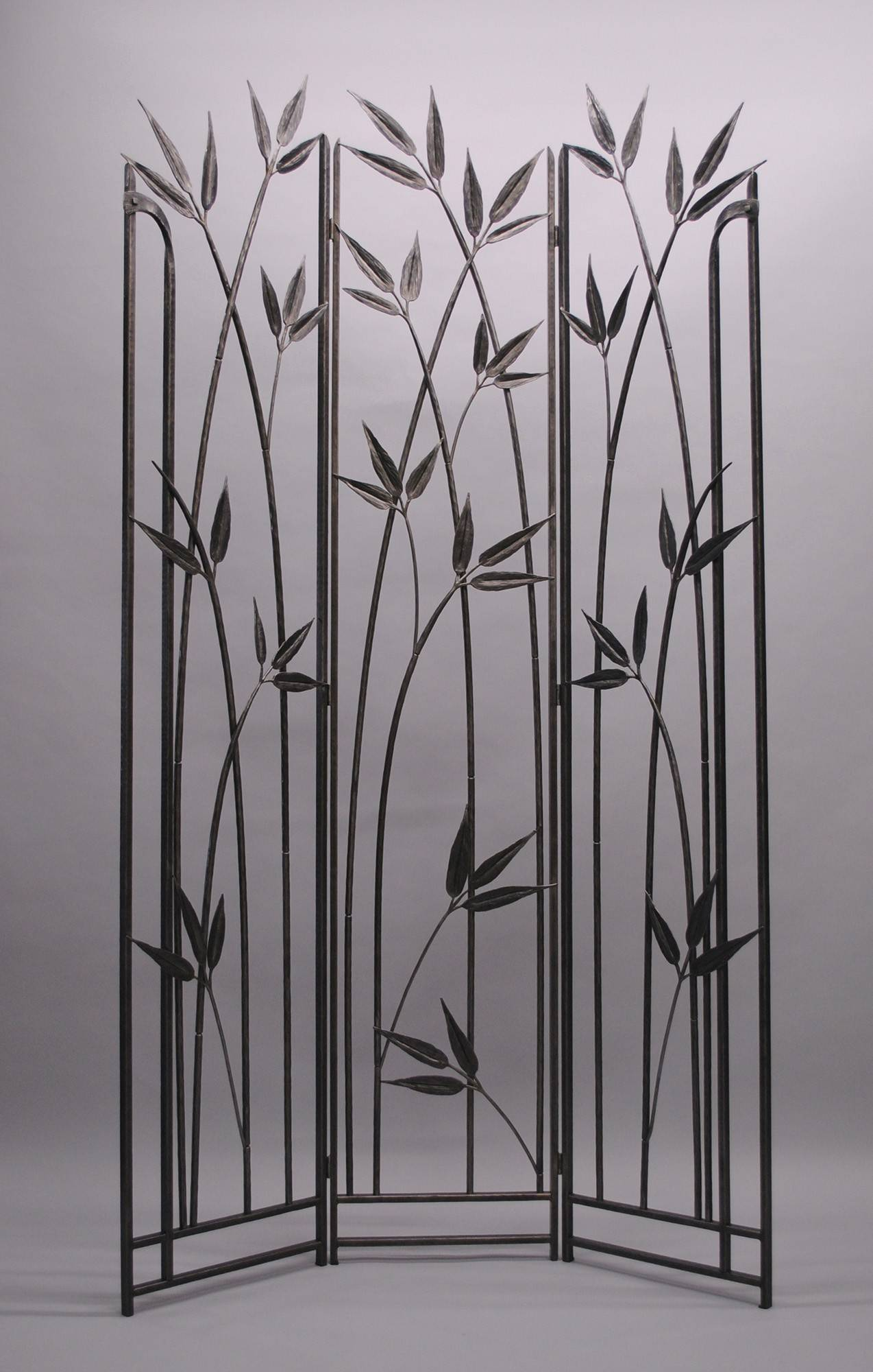 A bamboo-inspired room divider, forged with reclaimed steel by Kyle Lucia.
