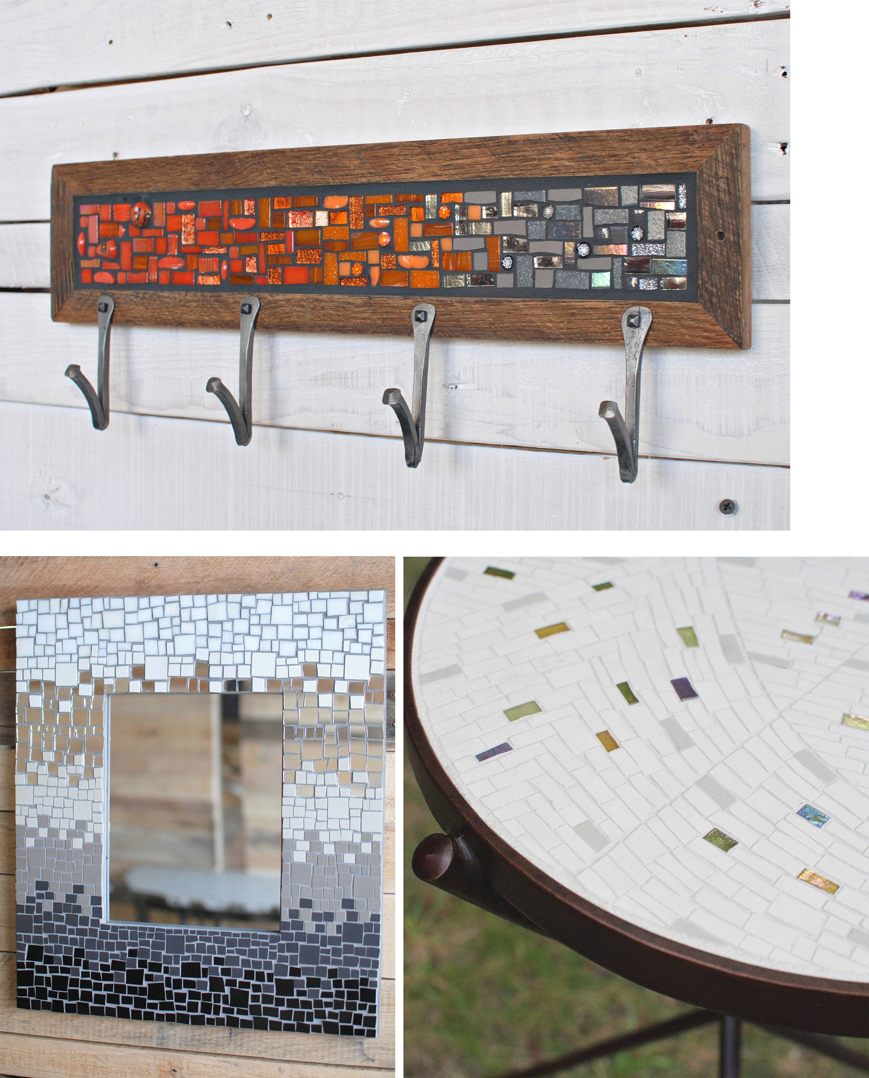 "Clockwise from top: Willsey and Lucia's glass mosaic coat rack with hand-forged hooks; a side table they made with a mosaic top in unglazed porcelain, opaline glass and a forged steel base; Willsey's ""Gradient"" mosaic mirror frame."