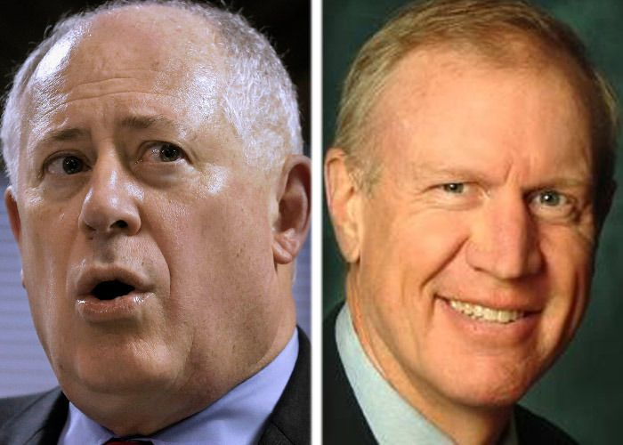 Democratic Gov. Pat Quinn, left, is running for re-election against Republican businessman Bruce Rauner.