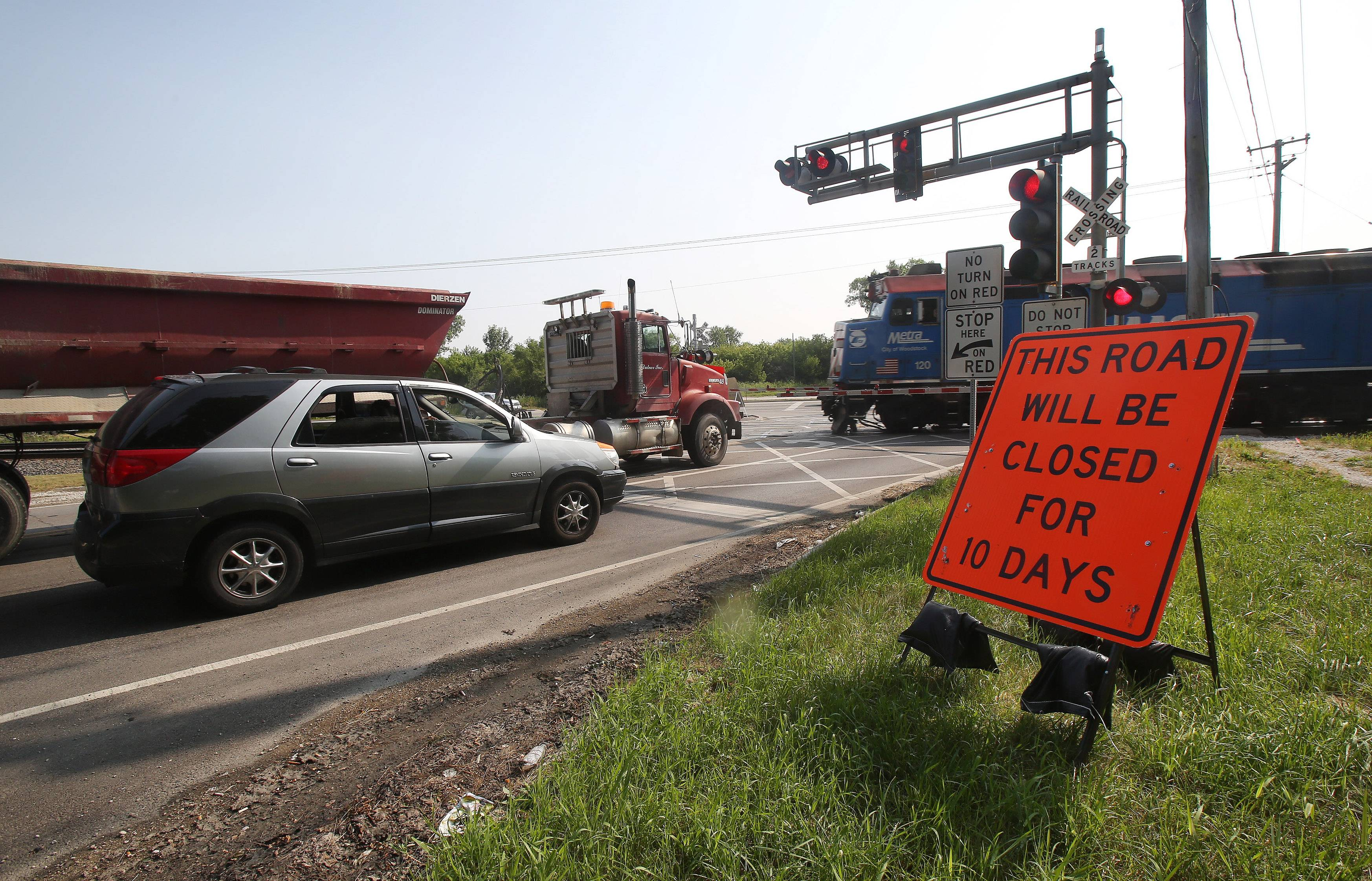 Route 120 west of Route 83 in Grayslake will be closed for 10 days beginning Monday for railroad crossing repairs.