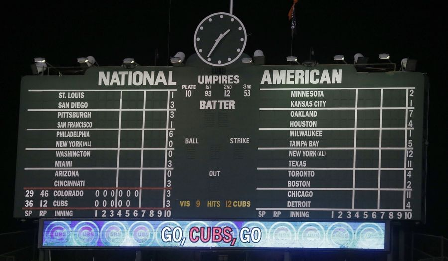The Wrigley Field scoreboard reflects the completion of the other Major League Baseball games and the time in which a Tuesday baseball game between the Chicago Cubs and the Colorado Rockies finished on Wednesday, July 30, 2014, in Chicago. At six hours and 27 minutes, a record for the longest game by time for both teams.