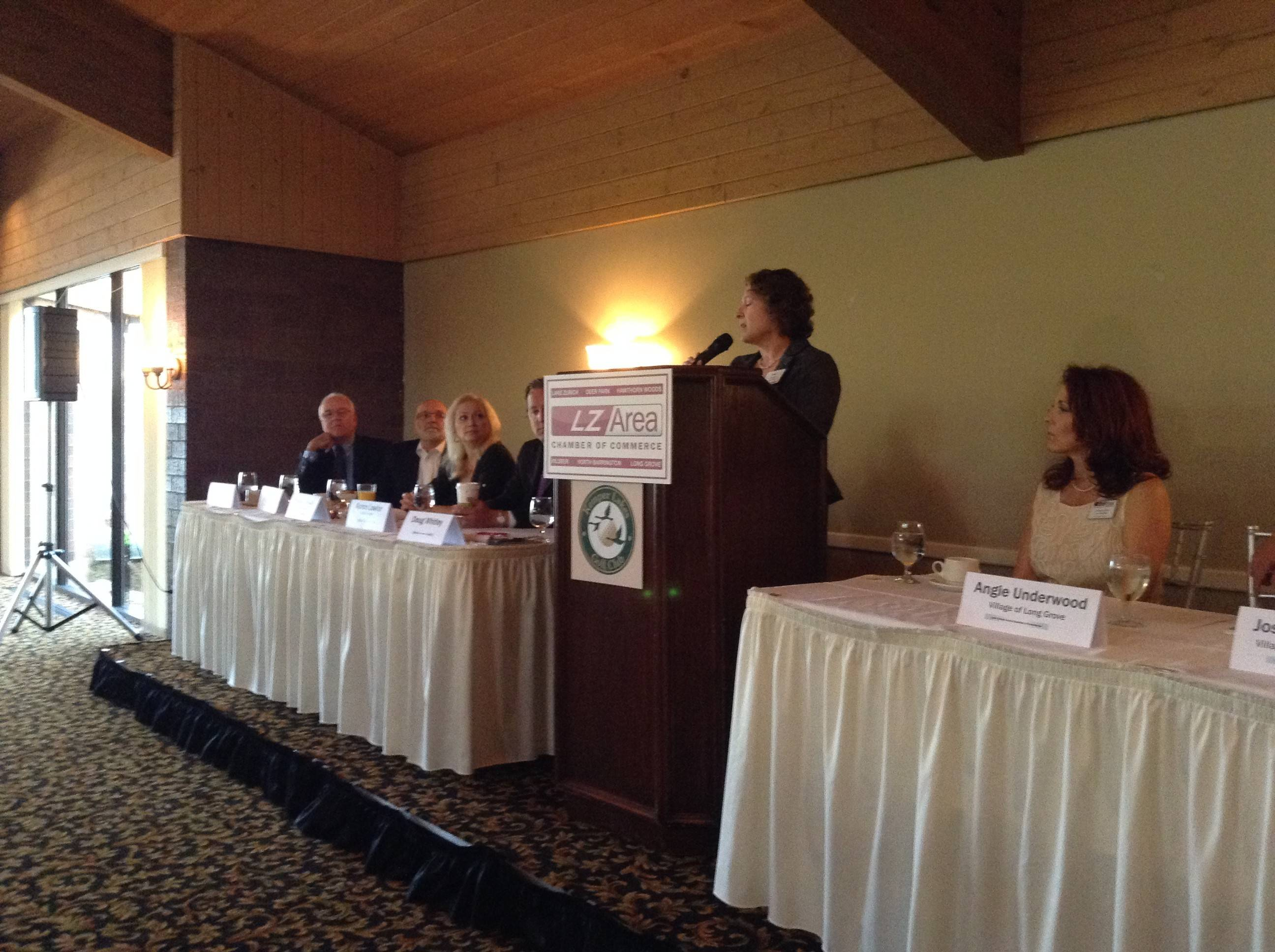 Long Grove Village President Angie Underwood was among the top elected officials to speak at Thursday's Lake Zurich Area Chamber of Commerce Breakfast With the Villages at Kemper Lakes Golf Club.