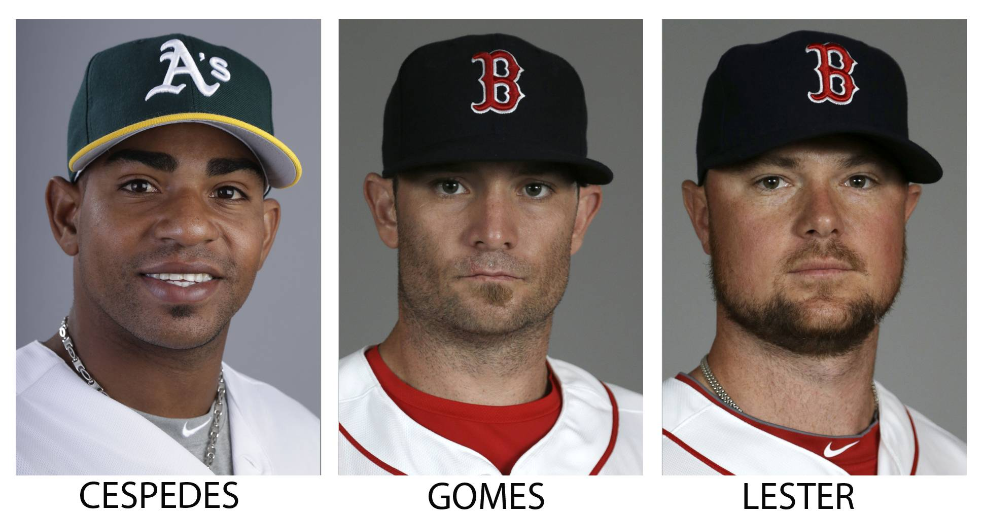 The Oakland Athletics traded Yoenis Cespedes to the Boston Red Sox for Jonny Gomes, middle, and Jon Lester.