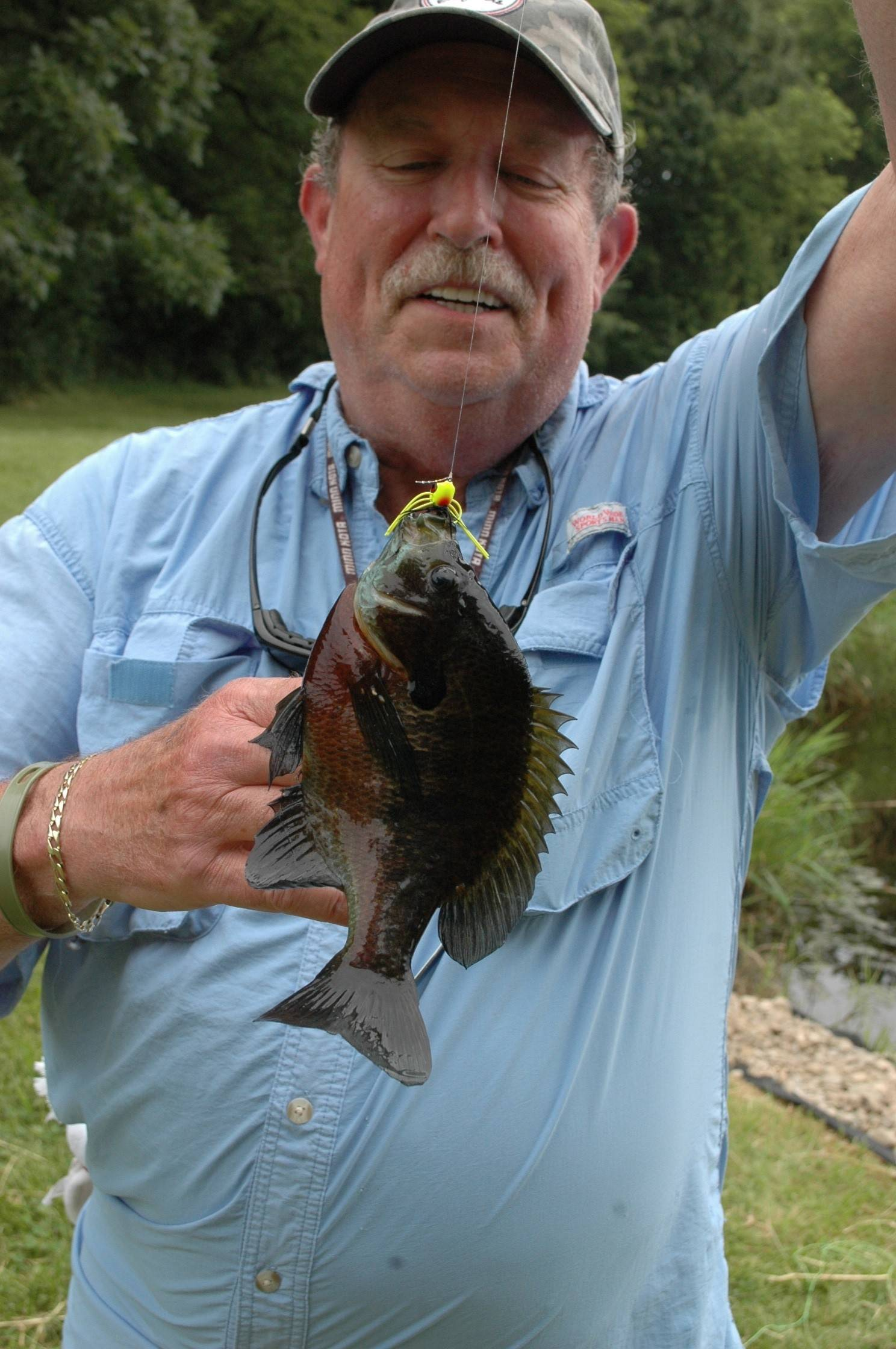 Mike Jackson displays the kind of bluegill frequently available in suburban retention ponds.