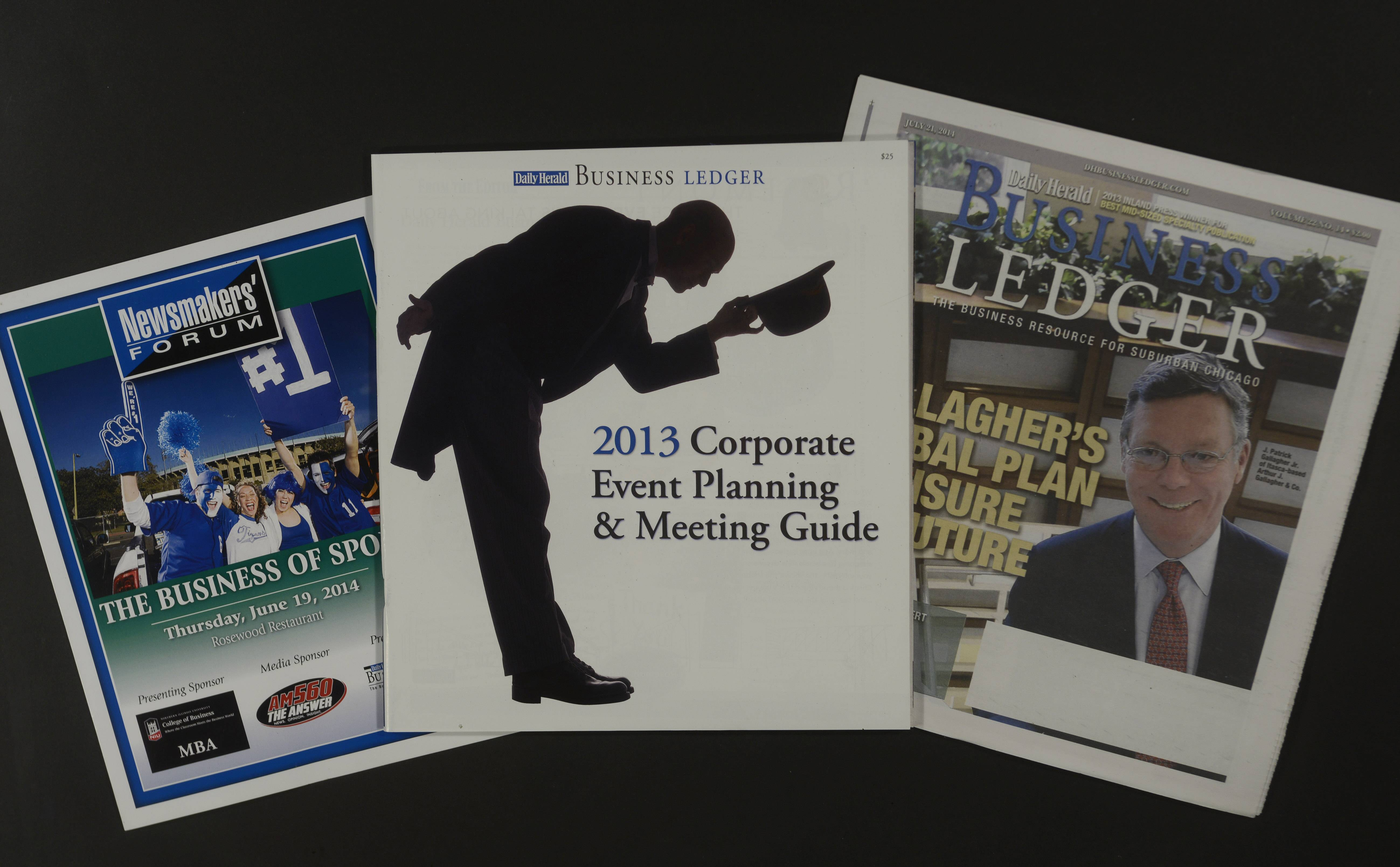 The 2013 Business Ledger Corporate Event Planning & Meeting Guide, center, was among the Daily Herald Business Ledger products and marketing events that were honored by the Inland Press Association in its annual New Business Development contest.