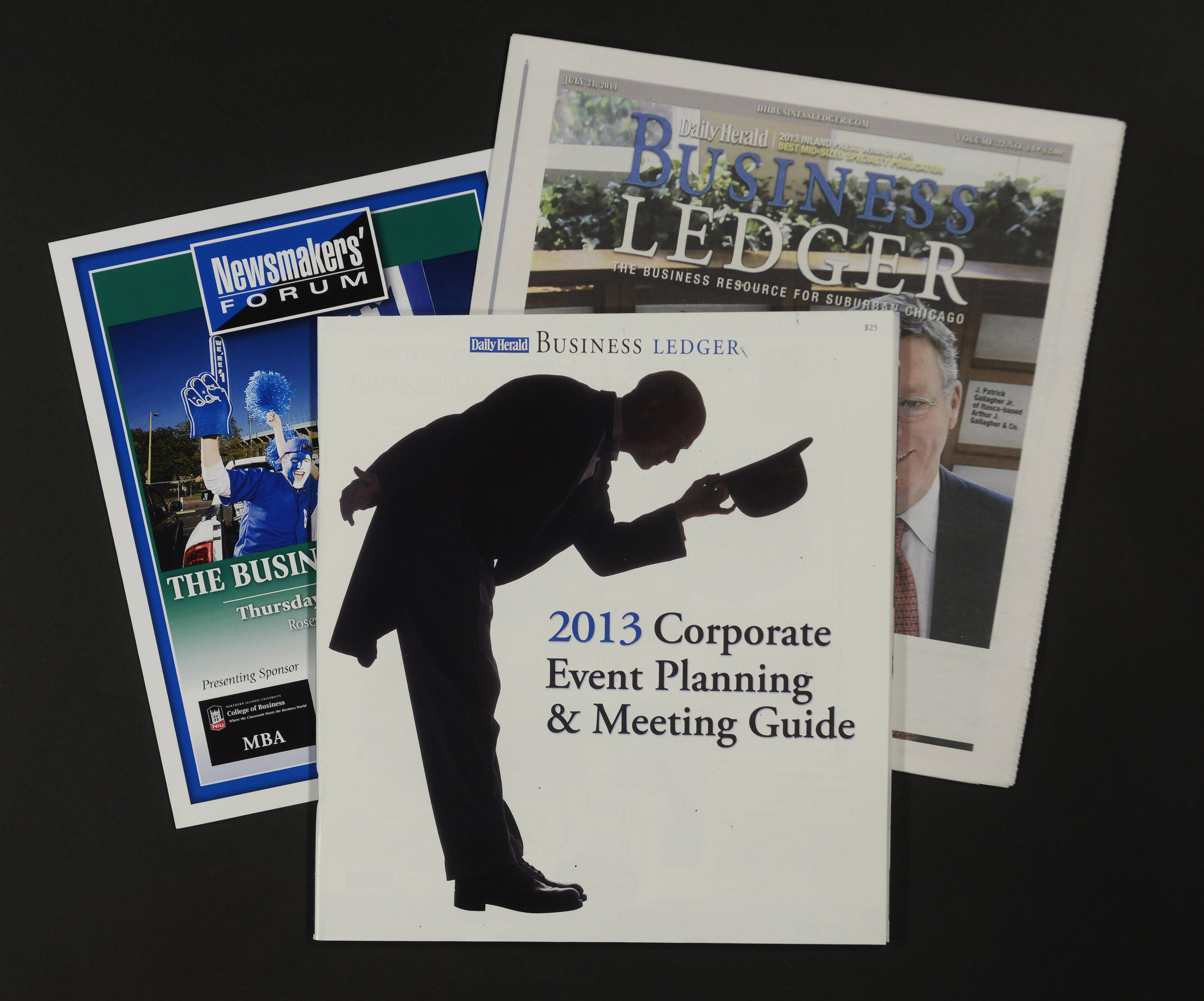 The 2013 Business Ledger Corporate Event Planning & Meeting Guide, center, was among the Daily Herald Business Ledger products and marketing events honored by the Inland Press Association in its annual New Business Development contest.