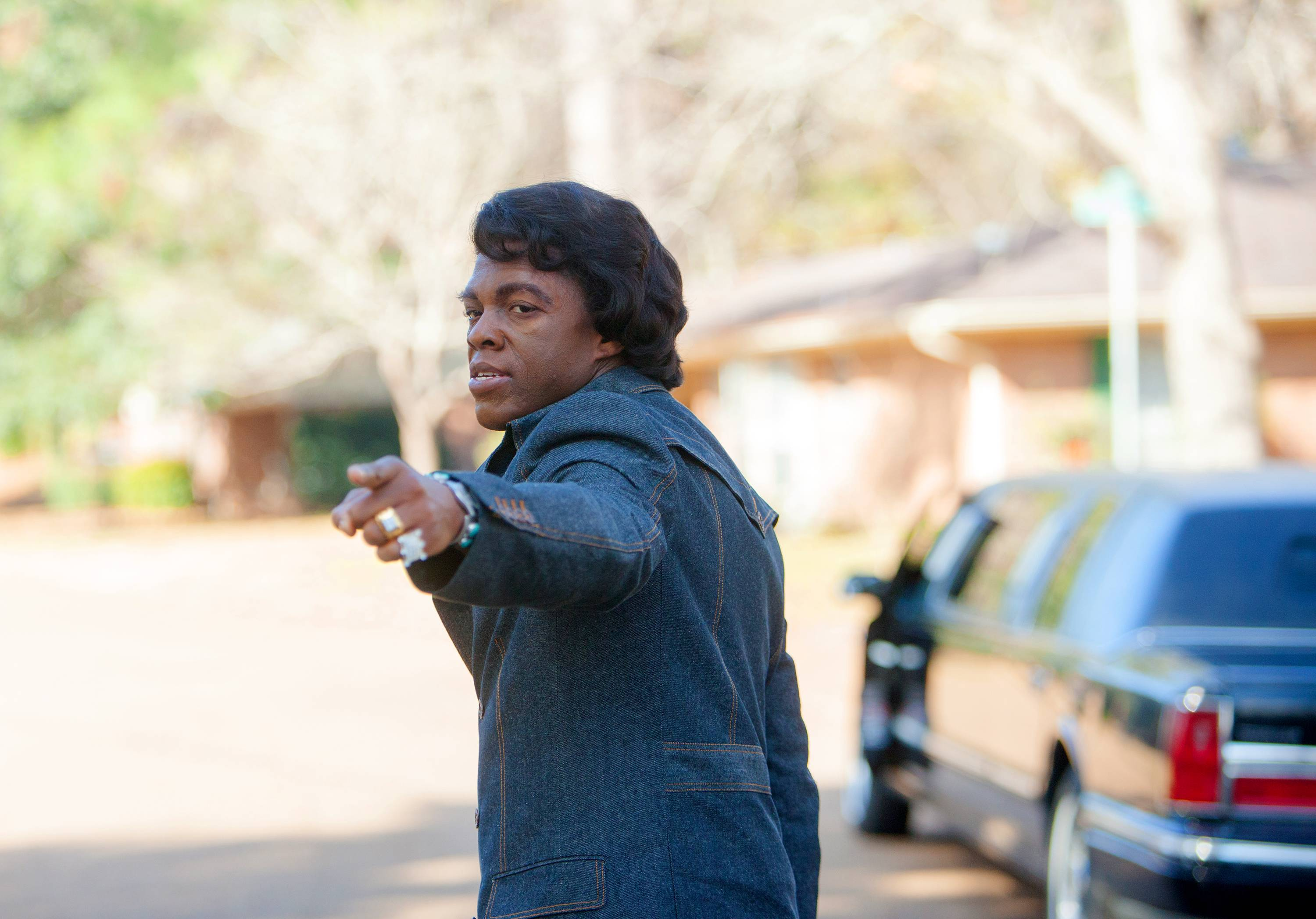 "Chadwick Boseman stars as the electrifying James Brown in ""Get On Up."""