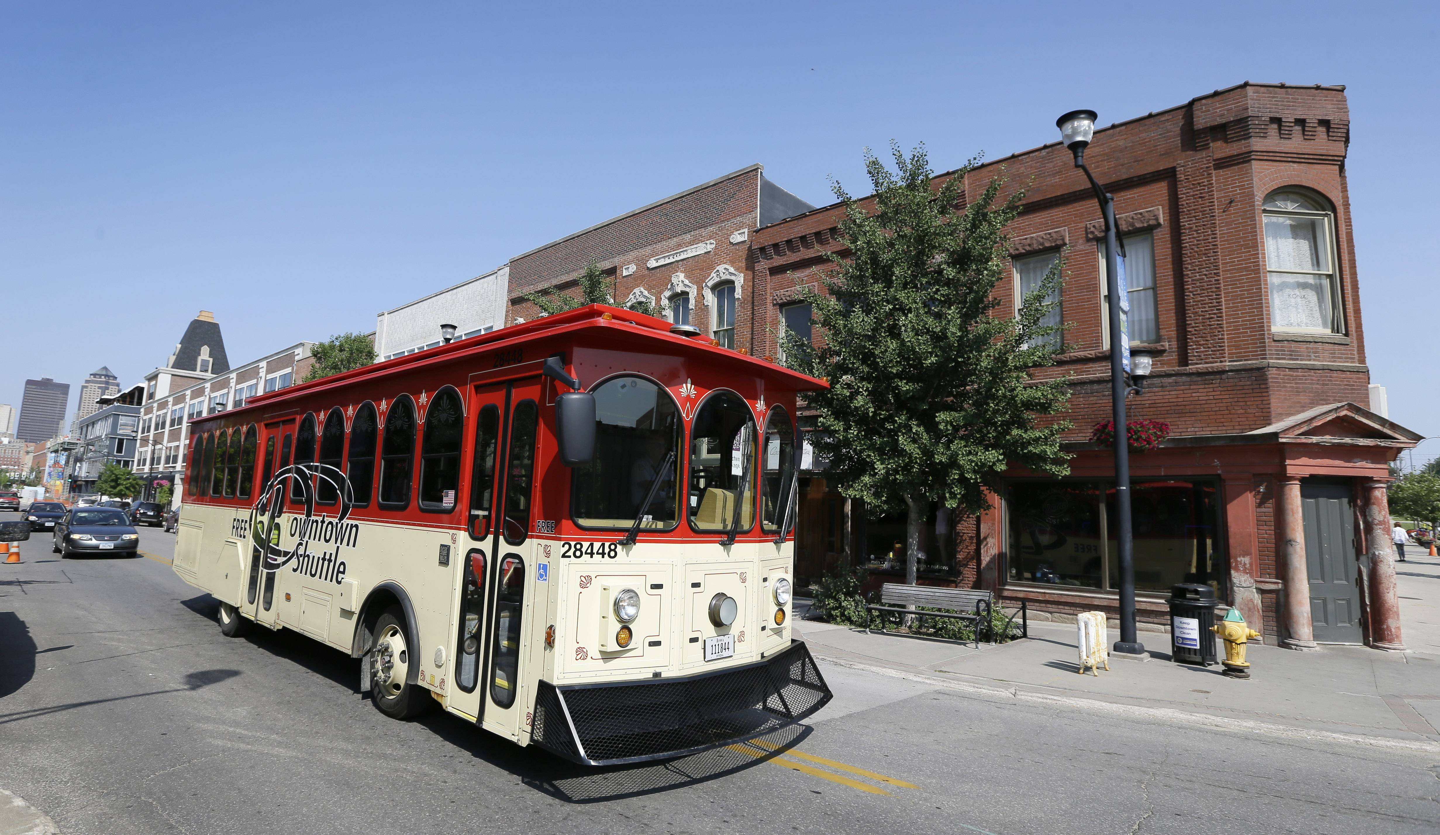 A free downtown shuttle takes passengers through the historic East Village district in Des Moines, Iowa.