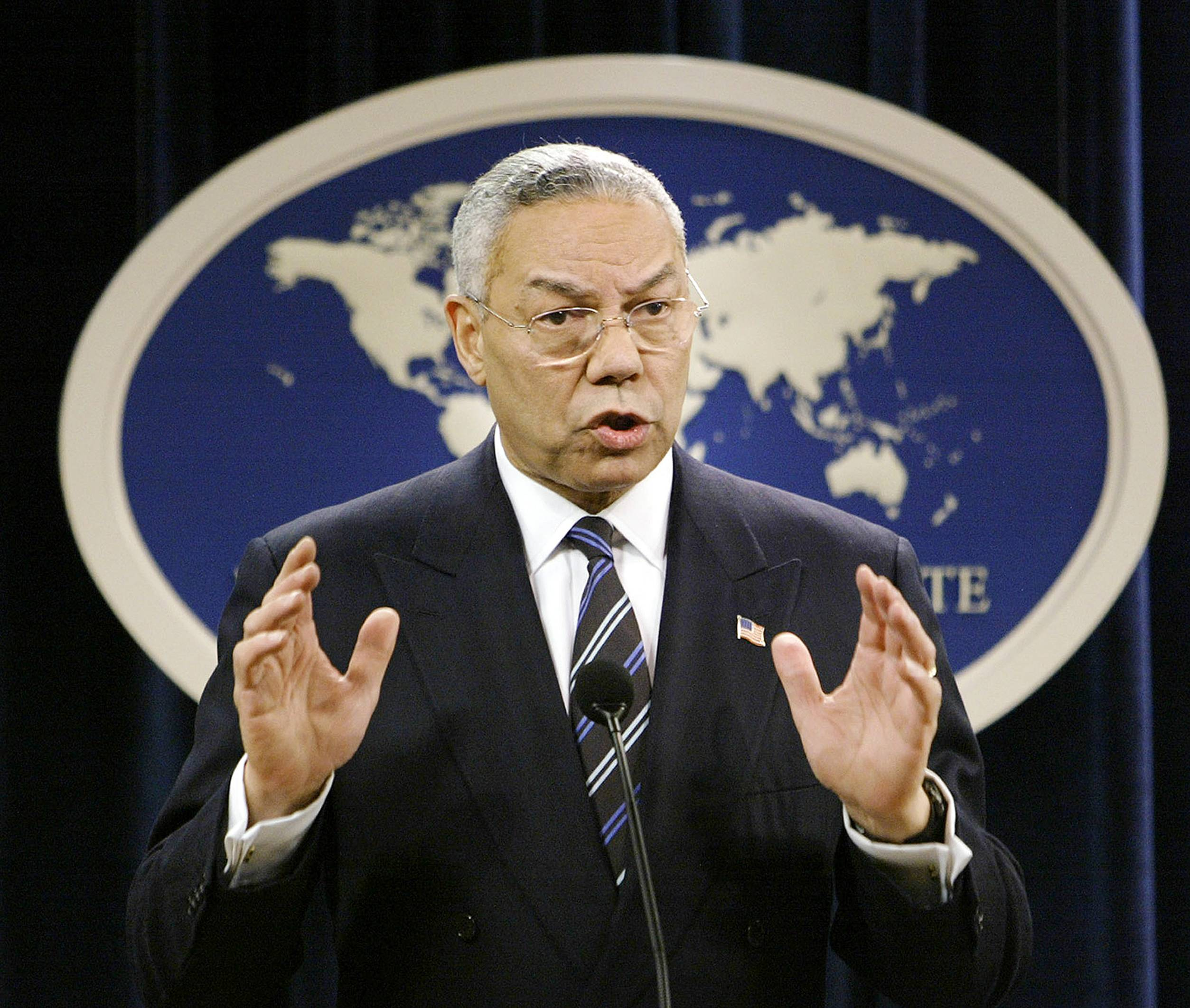 Then-Secretary of State Colin Powell. A document circulating among White House staff says a Senate report on the CIA's interrogation and detention practices after the 9/11 attacks concludes that the agency initially kept Powell and some U.S. ambassadors in the dark about harsh techniques and secret prisons.
