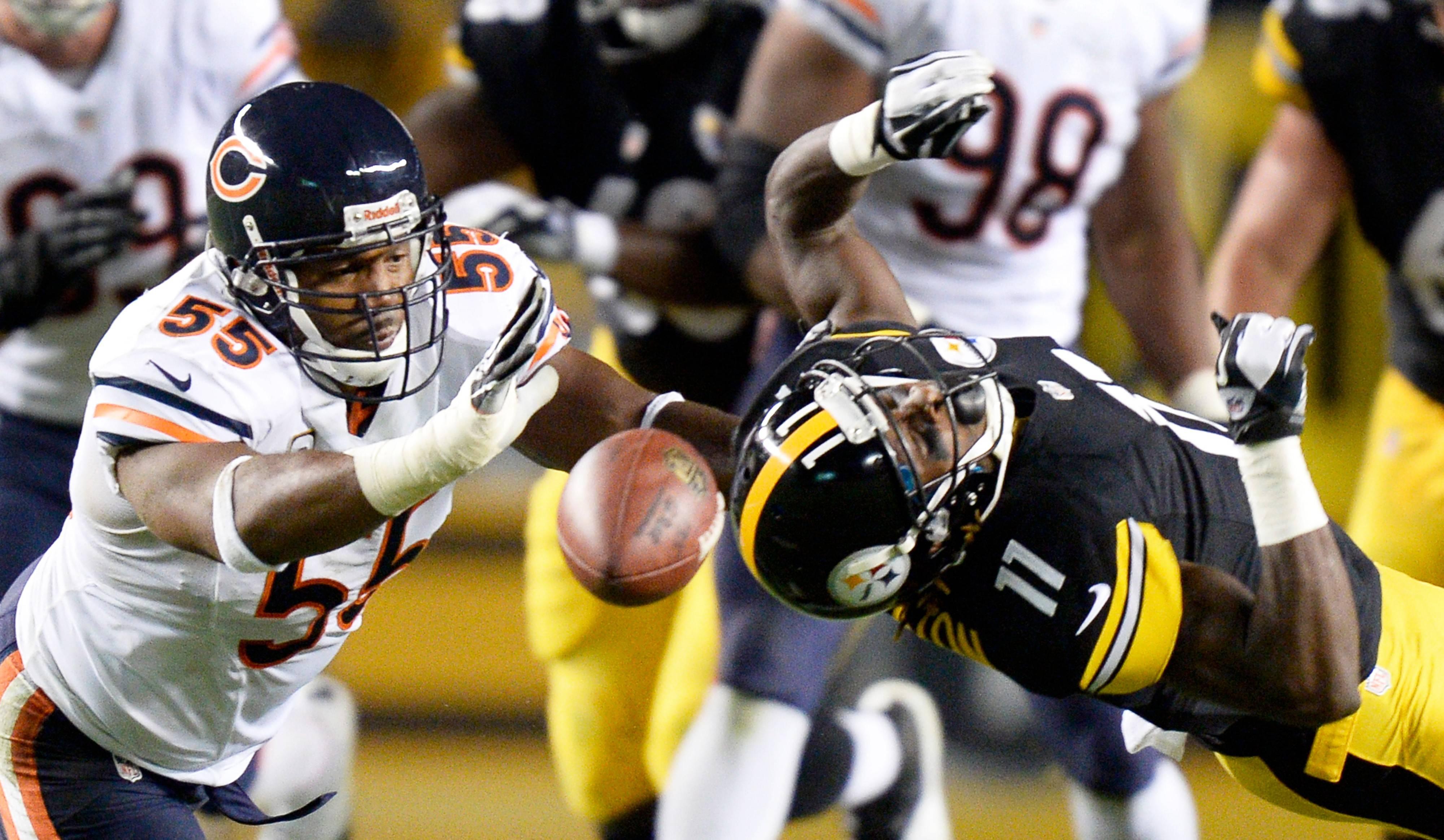 Lance Briggs, here defending a pass against the Steelers last season, is excited about getting back on the field after missing seven games in 2013.