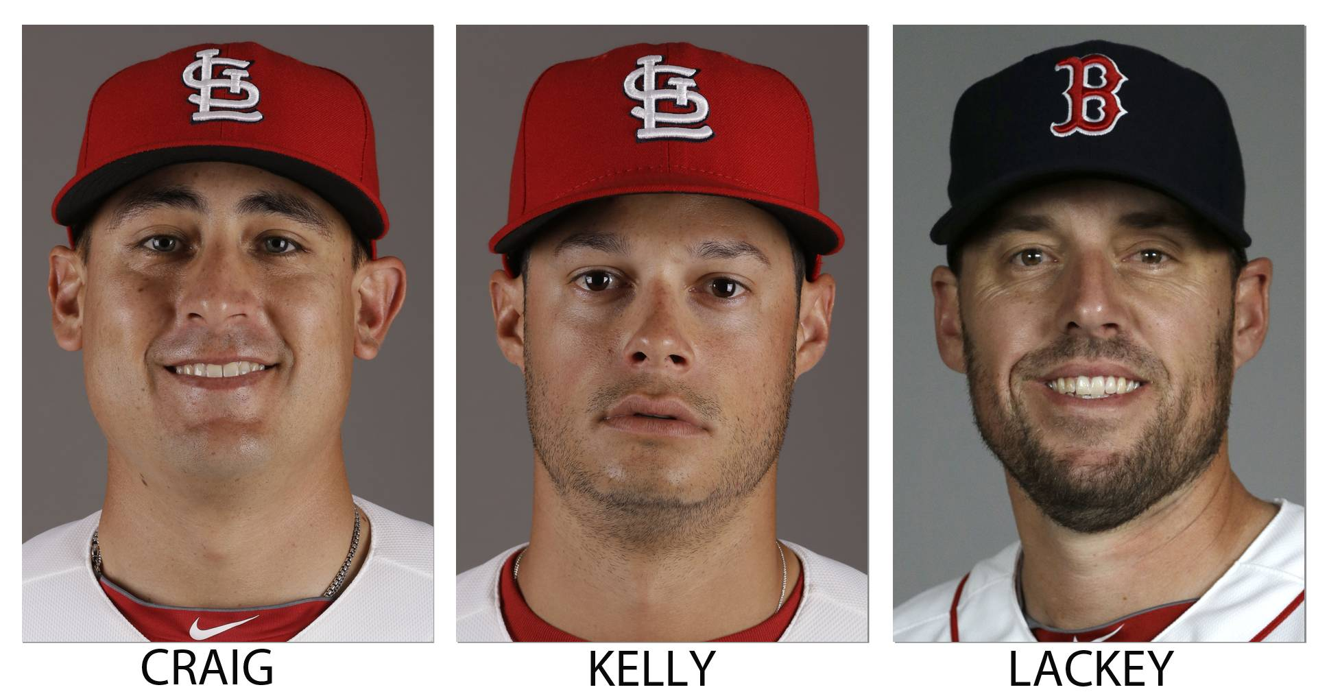 The St. Louis Cardinals traded Allen Craig, left, and  Joe Kelly for Boston Red Sox pitcher John Lackey. The person spoke on condition of anonymity because neither club announced the trade.