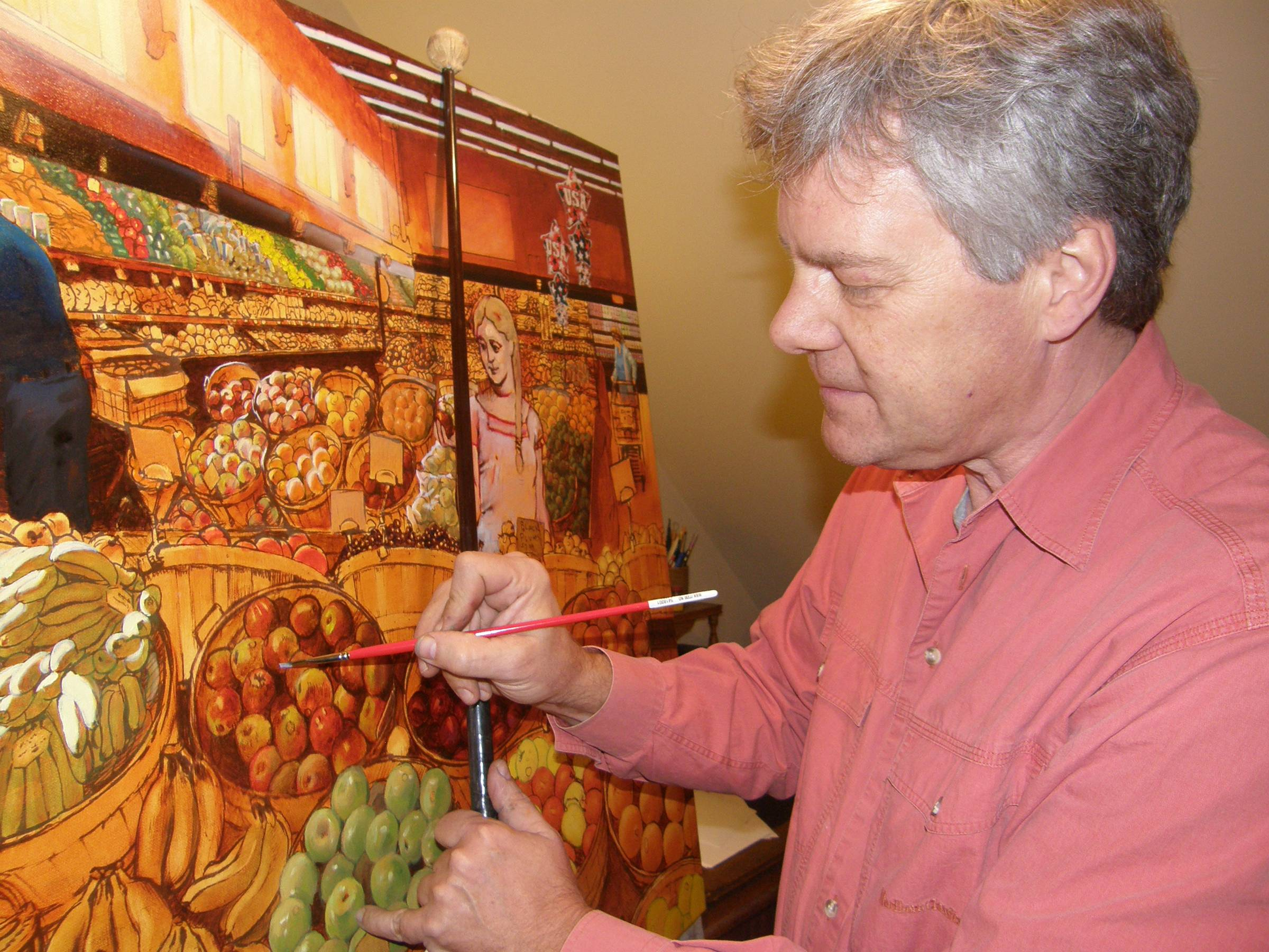 Freeman at work on a large-scale oil paintingNorris Gallery