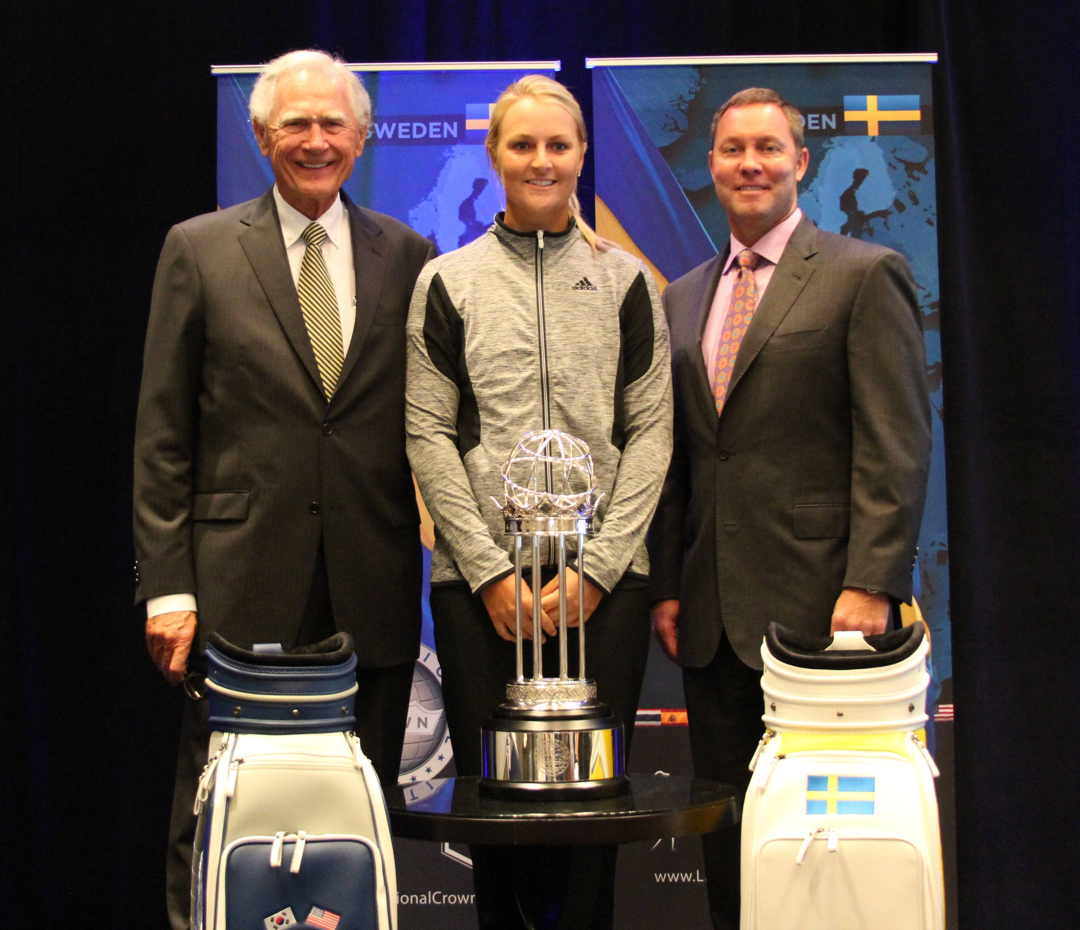 Rich Harvest owner Jerry Rich, LPGA star Anna Nordquist from Sweden and LPGA commissioner Mike Whan at Friday's Launch Party for the International Crown event that will be coming to Rich Harvest Farms in 2016.