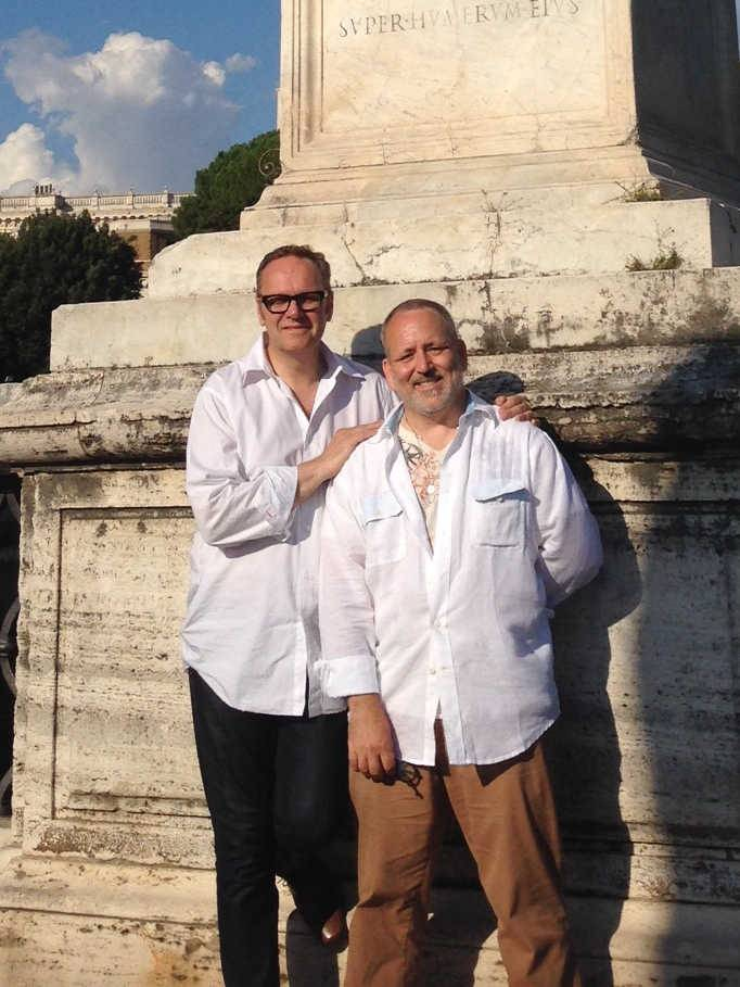 Colin Collette, left, and his and his partner became engaged in Rome last week, and he was subsequently fired as the director of worship at Holy Family Parish in Inverness.