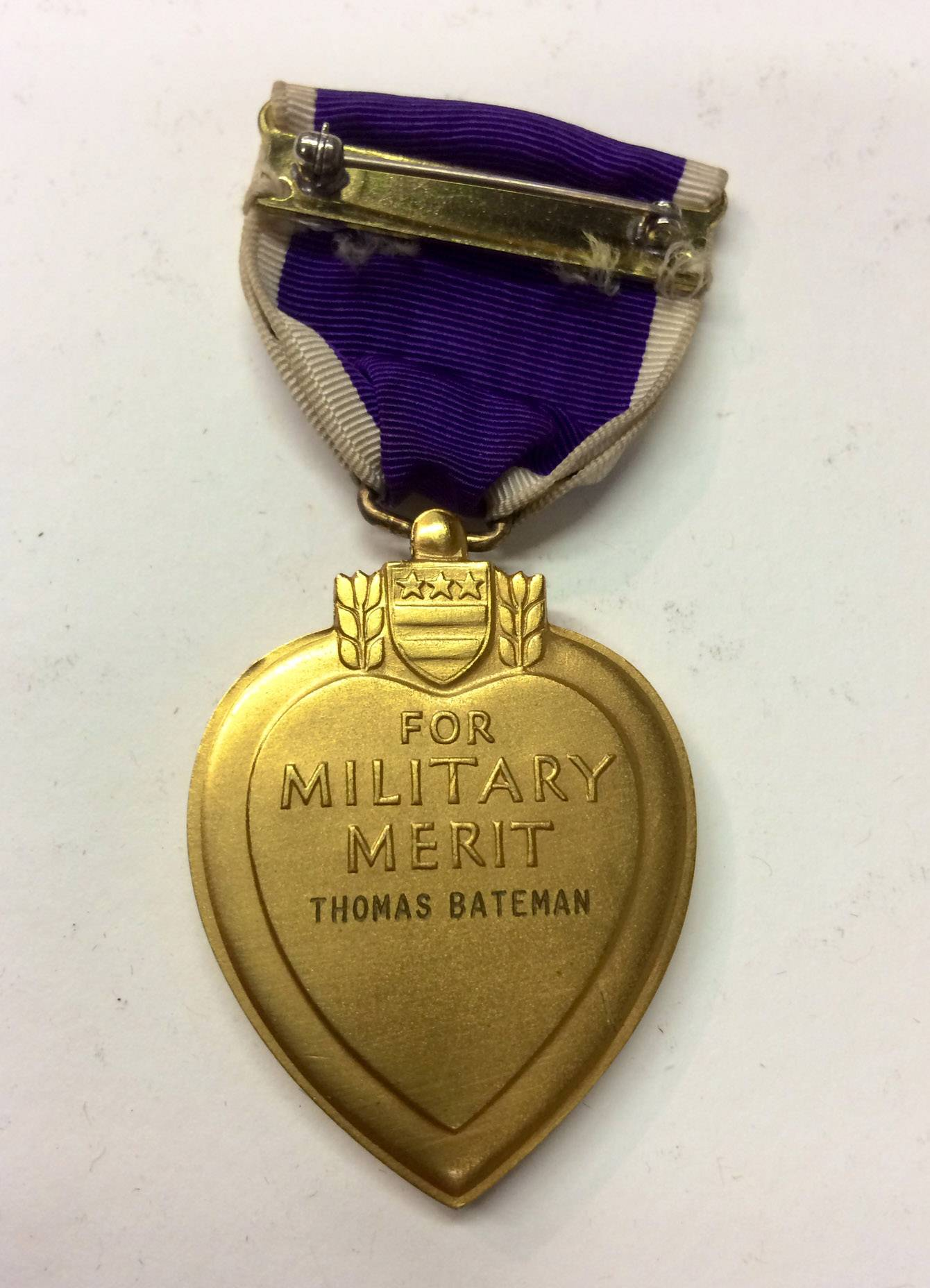 Thomas Bateman's Purple Heart medal.