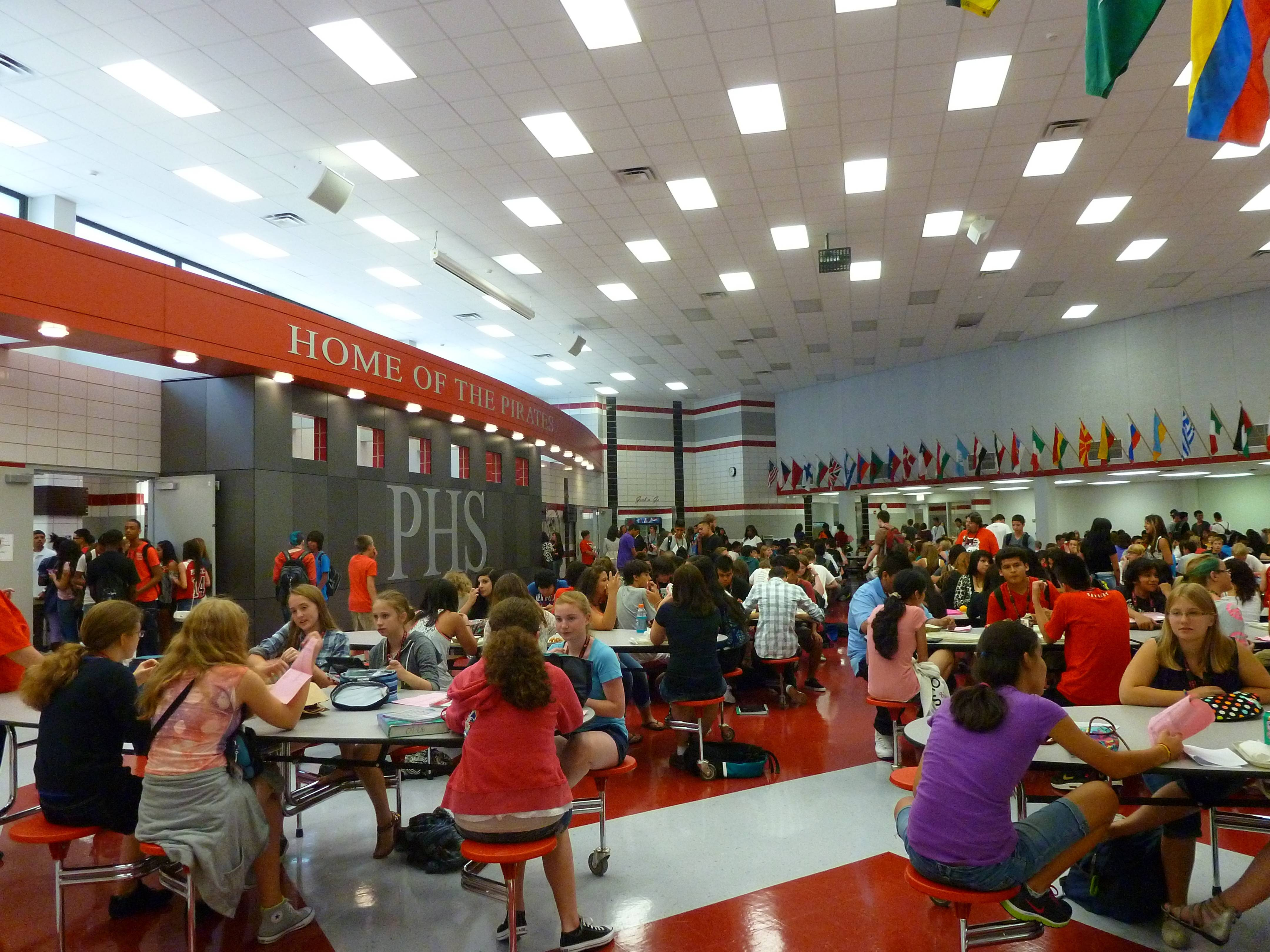 Students eat lunch at Palatine High School.