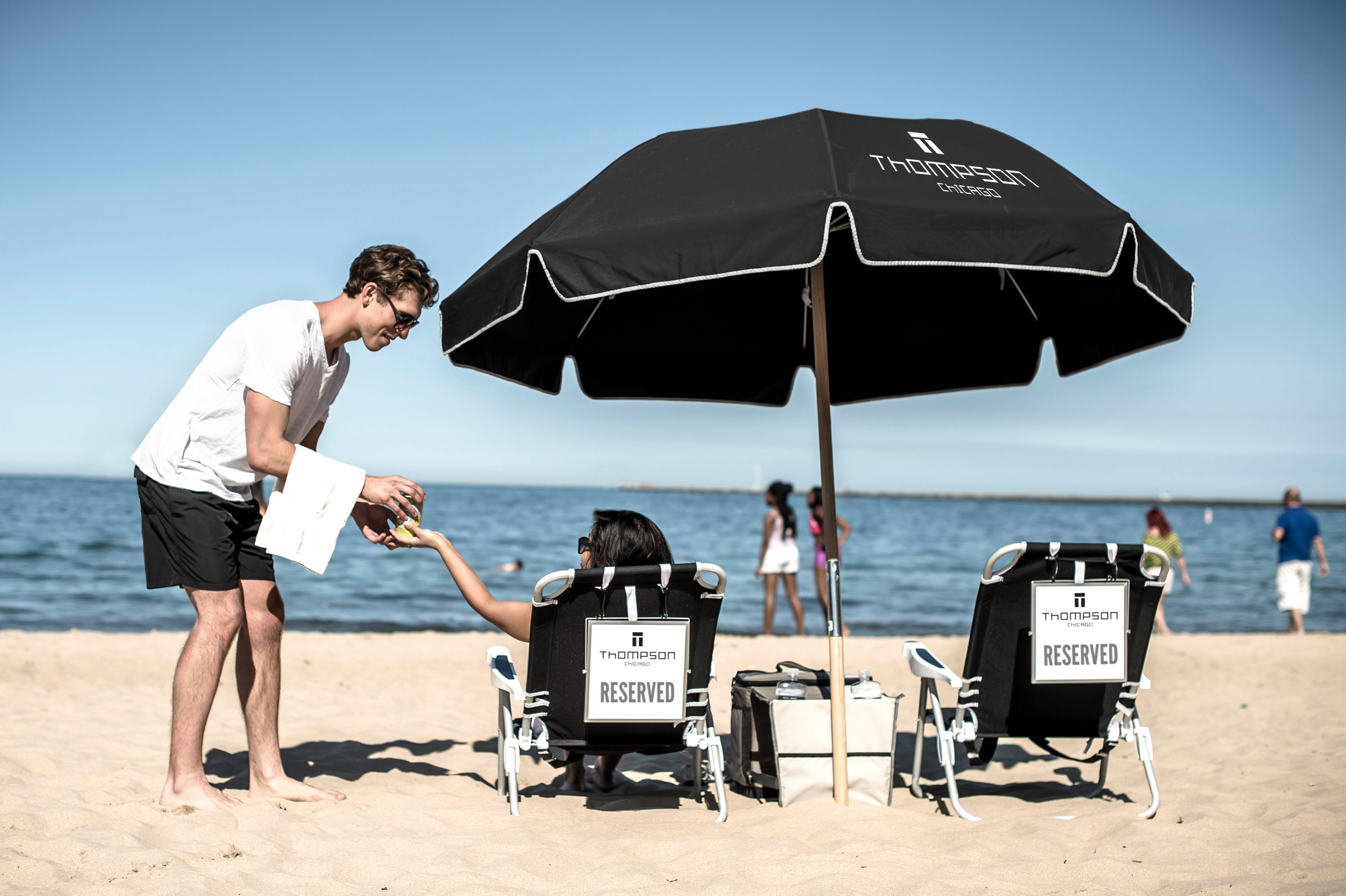 Thompson Chicago's Beach Butler service, offered throughout beach season, makes it easy for hotel guests to soak up the sun on the lakefront without having to carry beach chairs and towels.